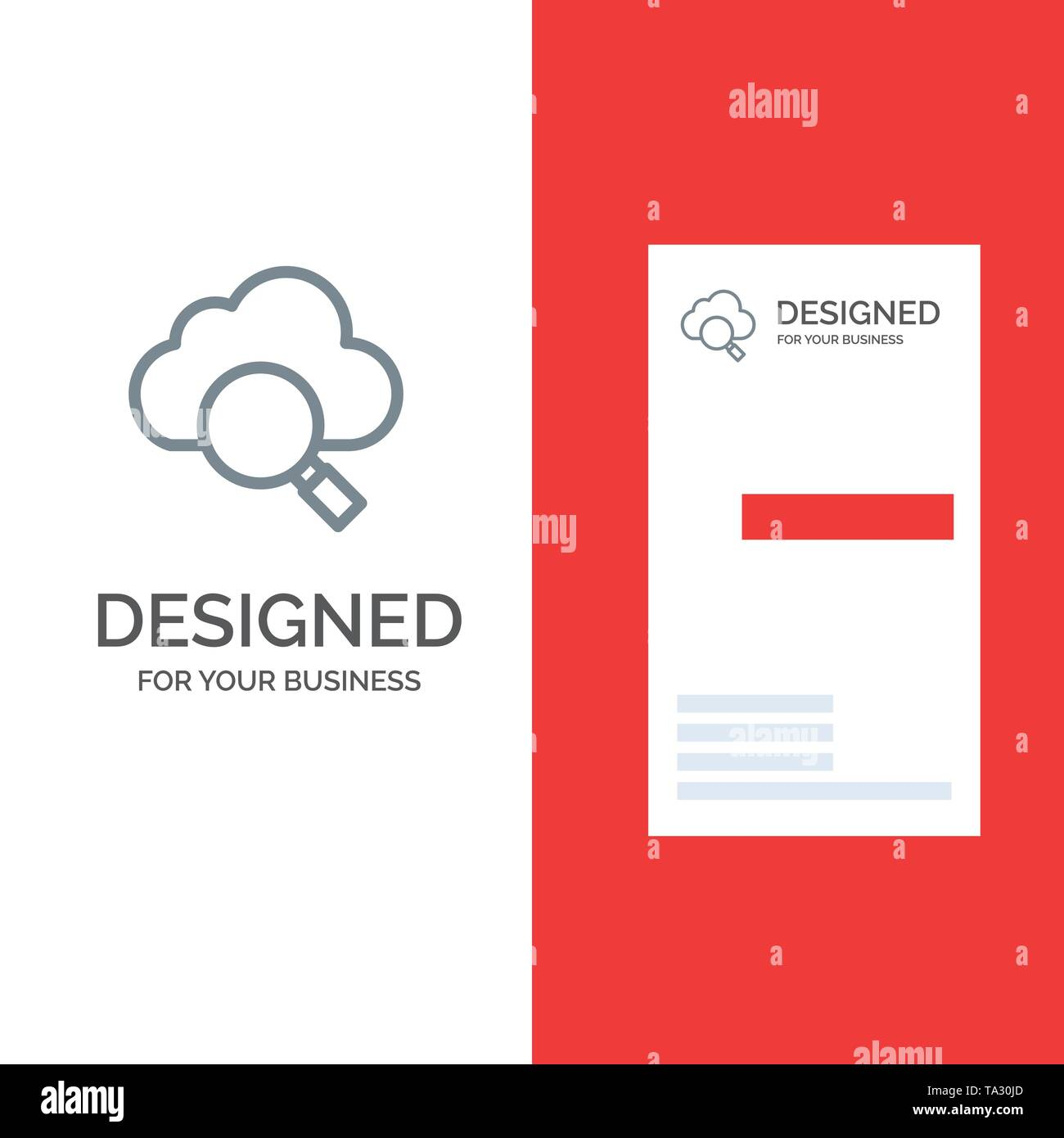 Cloud, Search, Research Grey Logo Design and Business Card Template - Stock Image
