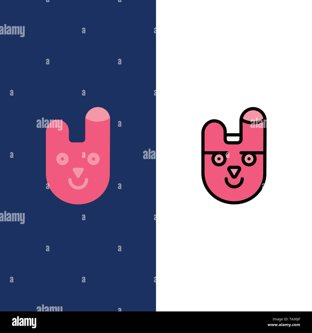 Animal, Bunny, Face, Rabbit  Icons. Flat and Line Filled Icon Set Vector Blue Background - Stock Image