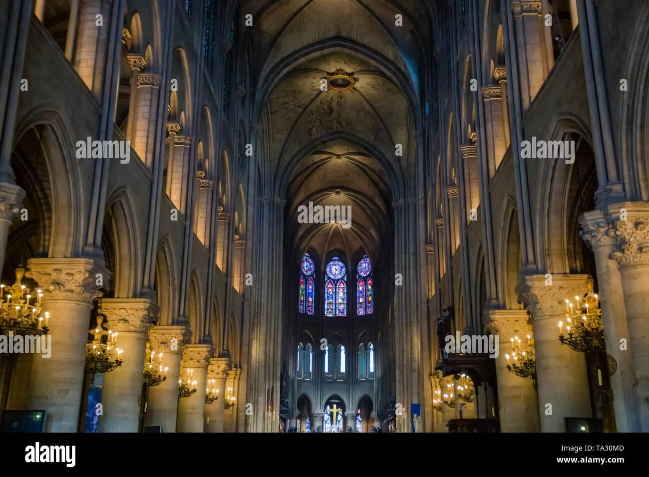 PARIS, FRANCE - 8 JUNE 2014: interior view of Notre Dame de Paris - Stock Image