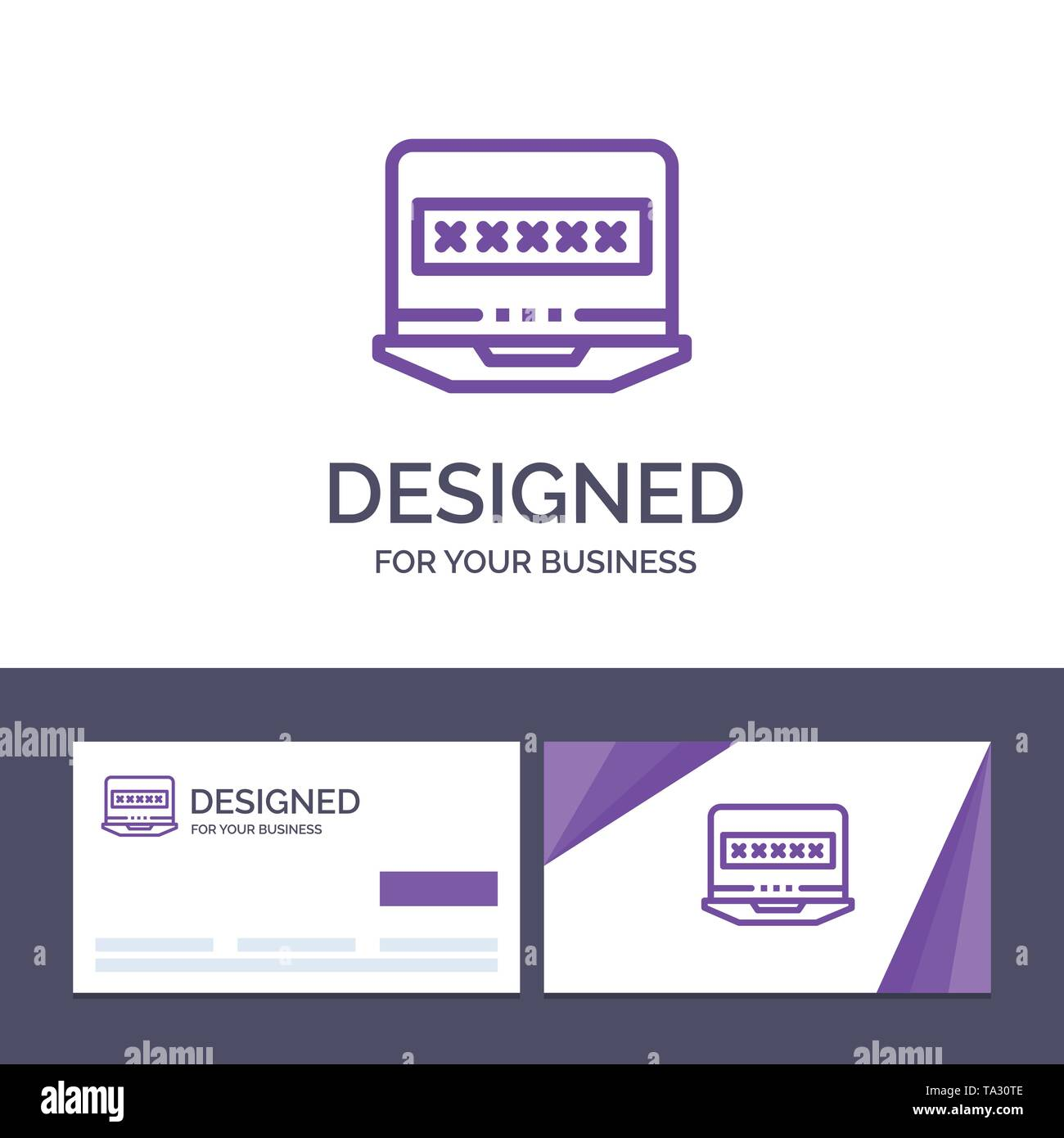 Creative Business Card and Logo template Laptop, Computer, Lock, Security Vector Illustration - Stock Image
