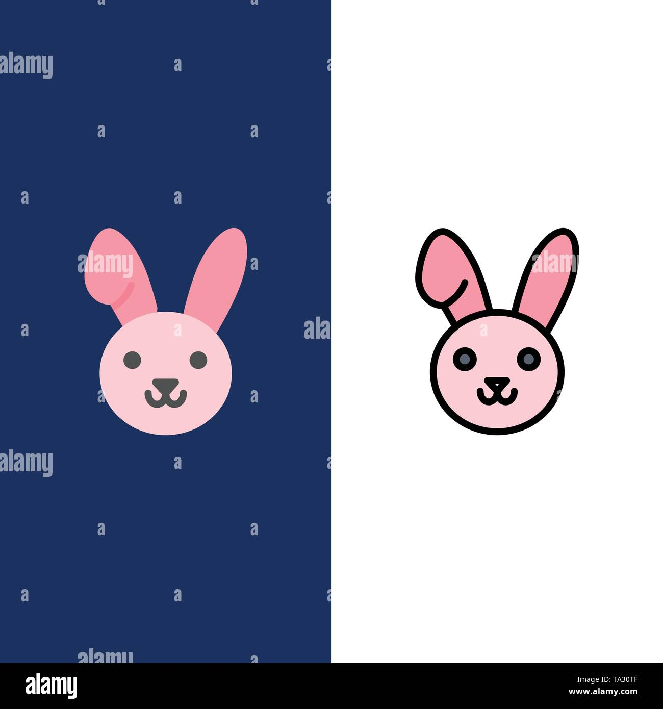 Bunny, Easter, Rabbit  Icons. Flat and Line Filled Icon Set Vector Blue Background - Stock Image