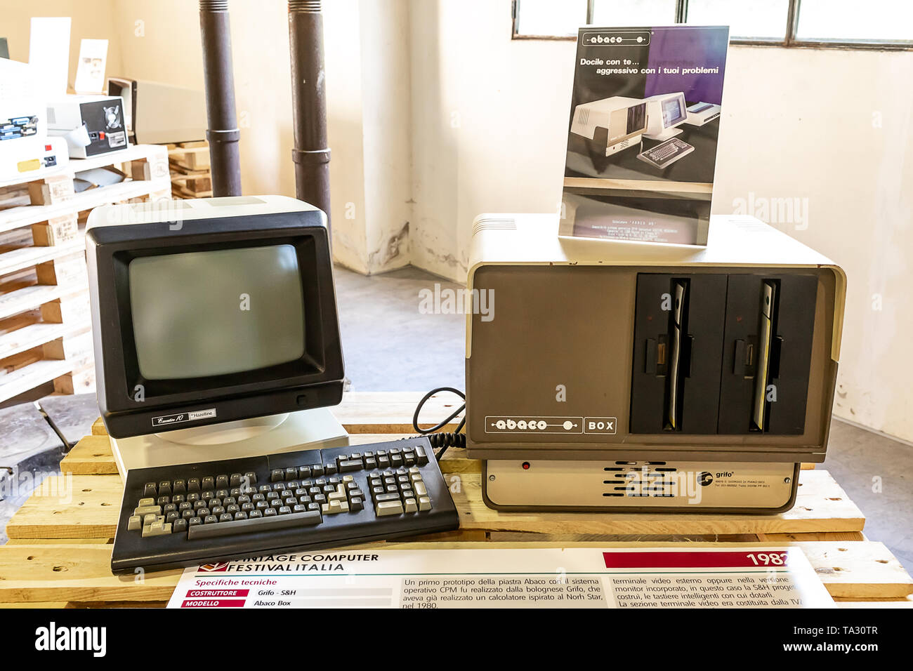 ROME, ITALY - APRIL 27, 2019: Abaco Box  computer produced by Grifo Bologna and S&H Milano in 1982, which worked with 1 or two 8-inch floppies. Expose - Stock Image