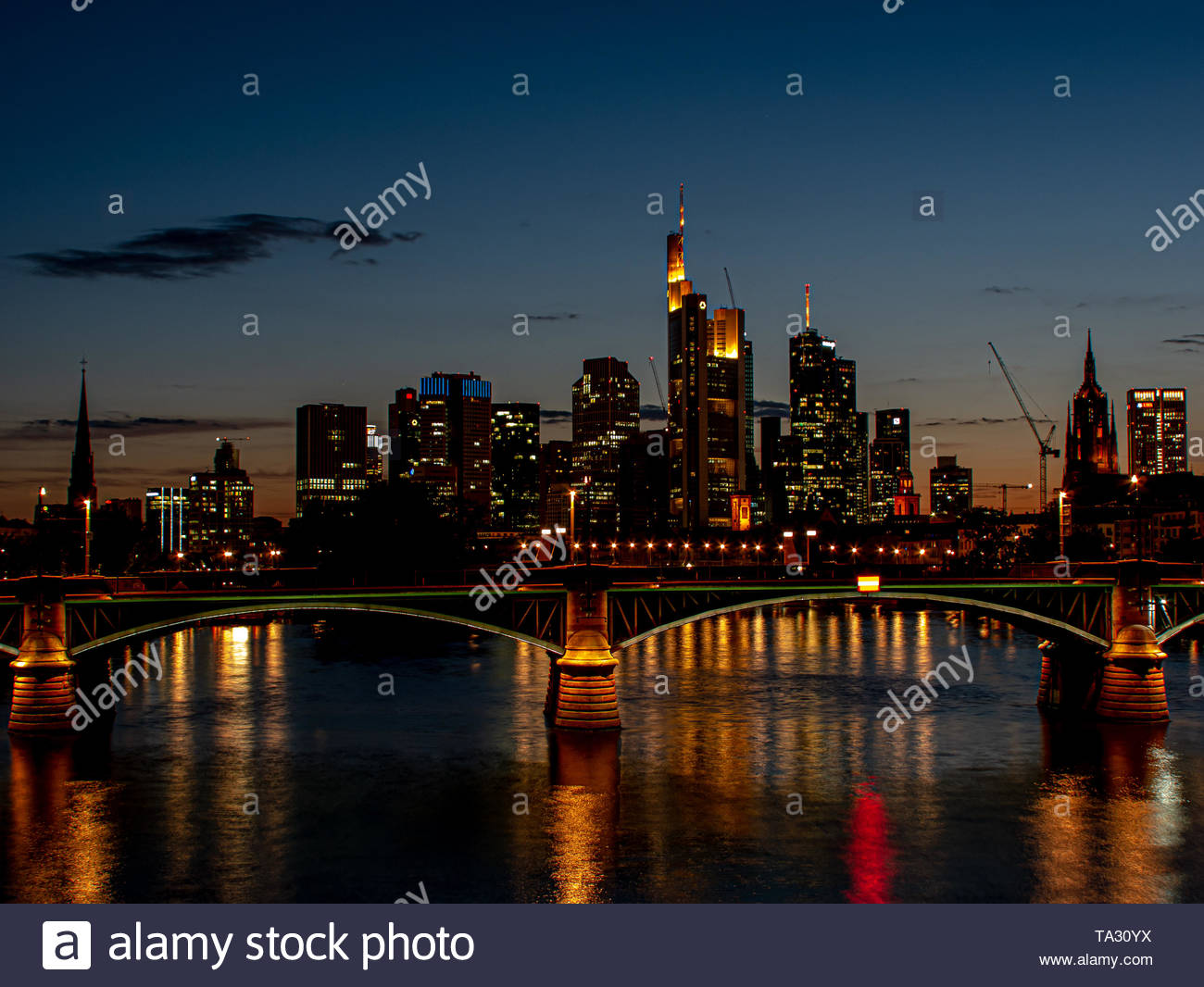 spectacular skyline view on skyscrapers at night with light - Stock Image