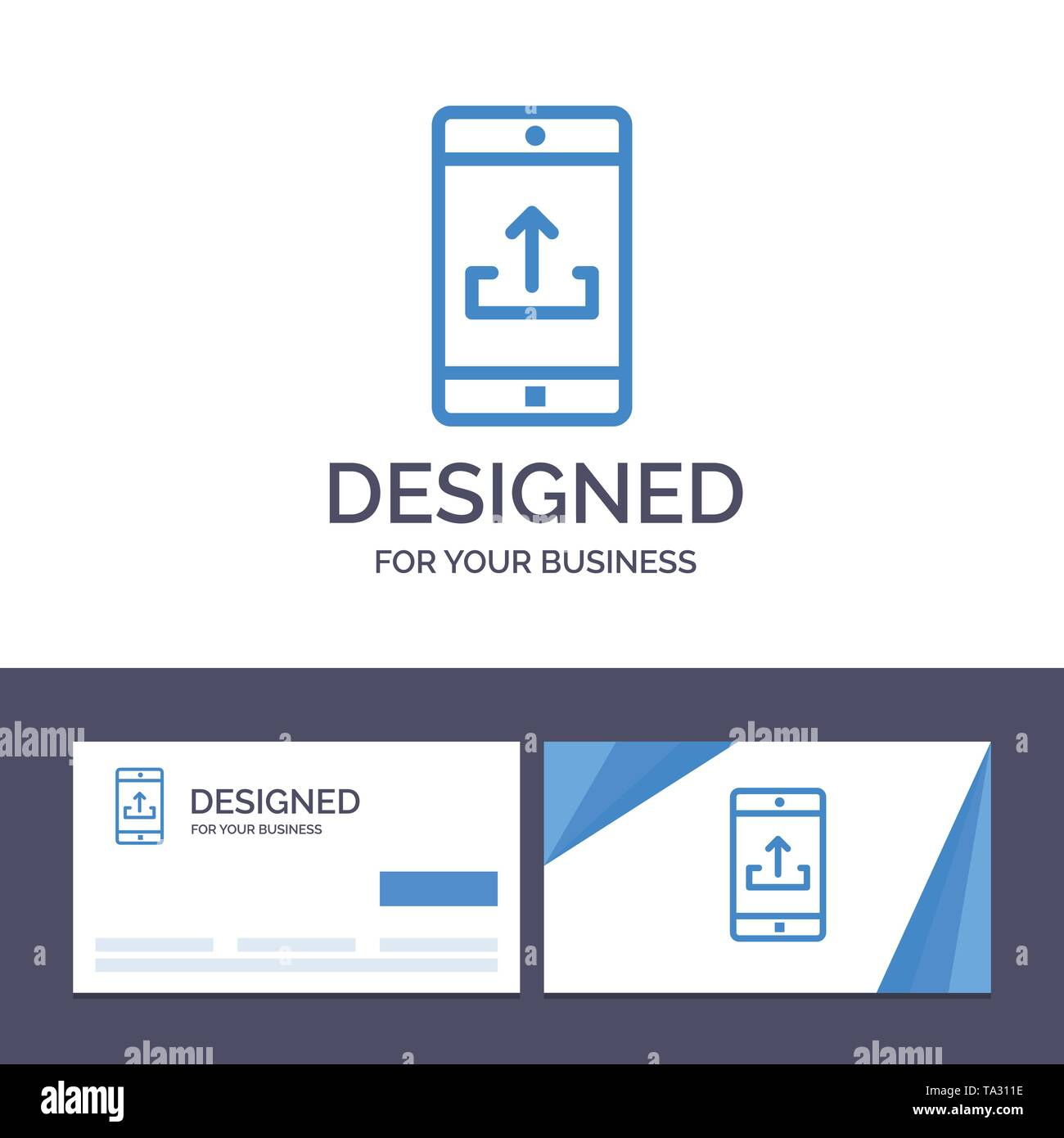 Creative Business Card and Logo template Application, Mobile, Mobile Application, Smartphone, Upload Vector Illustration - Stock Image