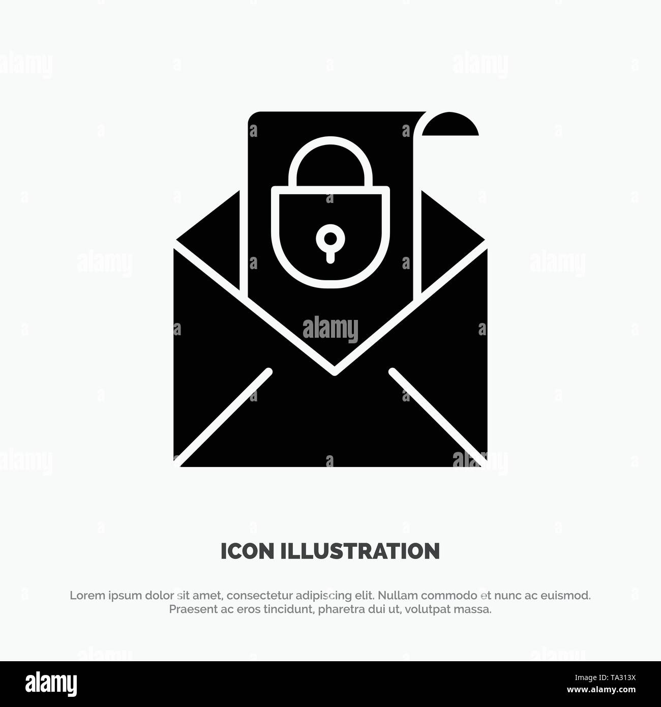 Mail, Email, Message, Security solid Glyph Icon vector - Stock Image