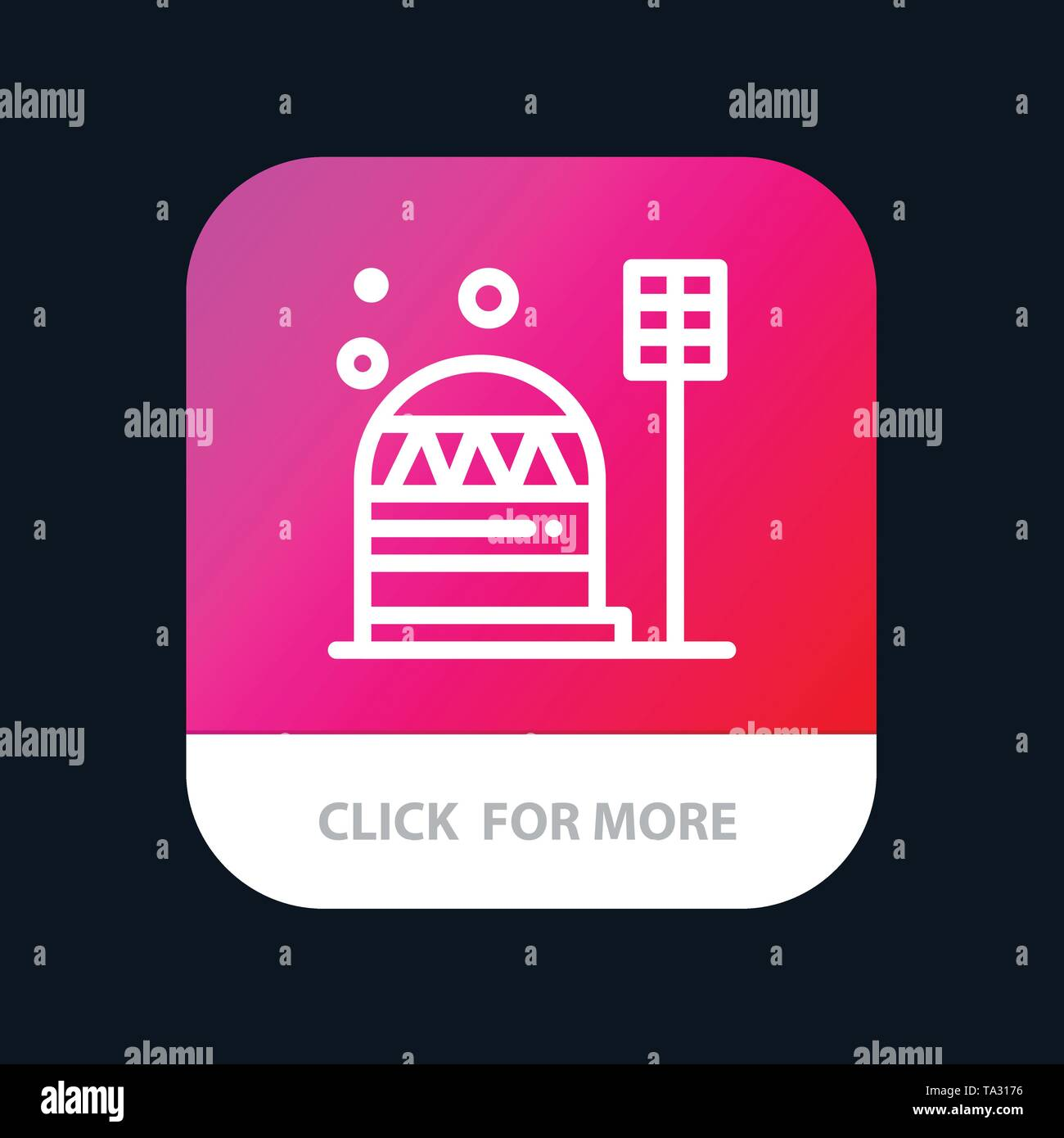 Base, Colony, Construction, Dome, Habitation Mobile App Button. Android and IOS Line Version - Stock Image