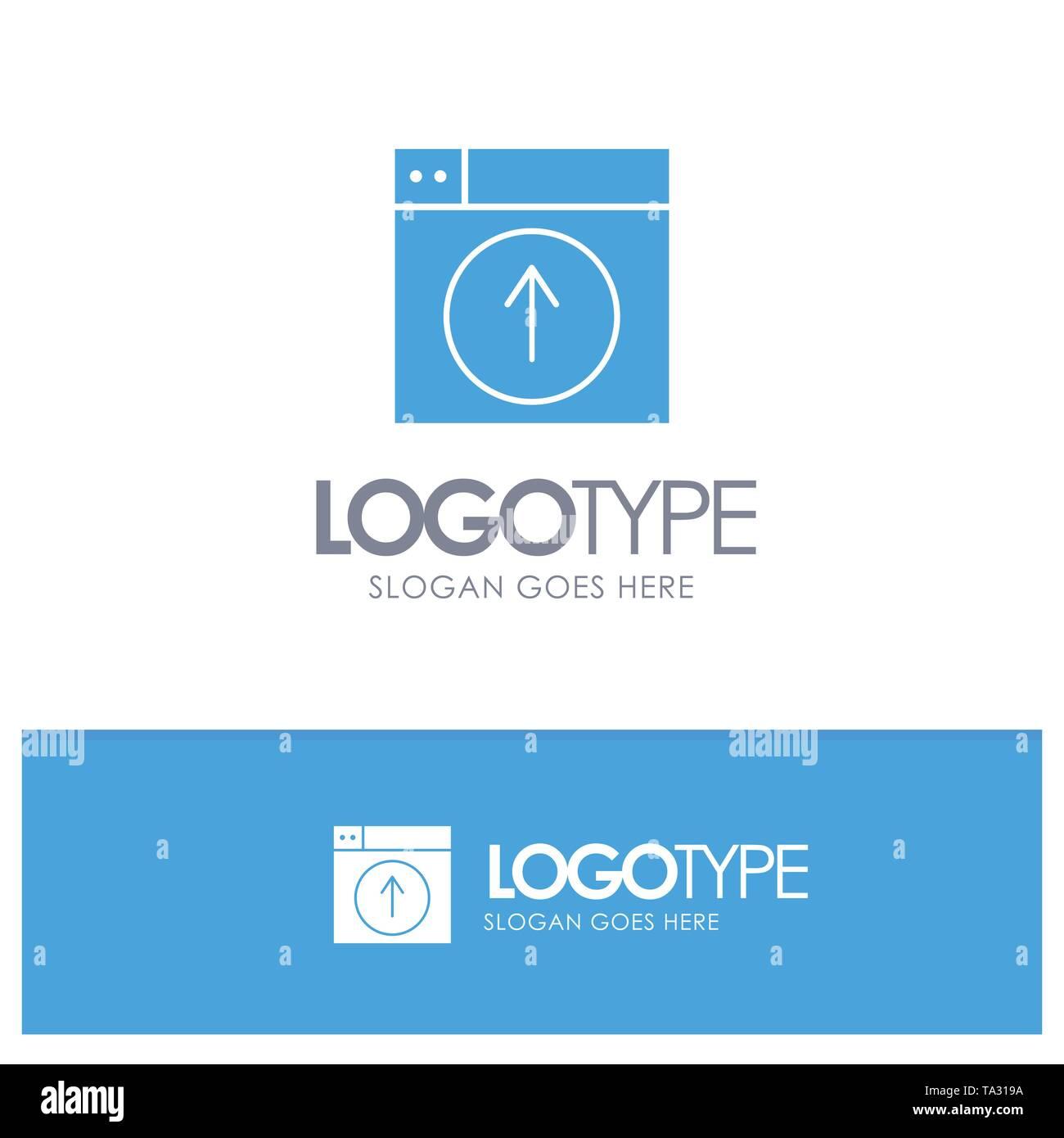 Upload, Up, Web, Design, application Blue Solid Logo with place for tagline - Stock Image
