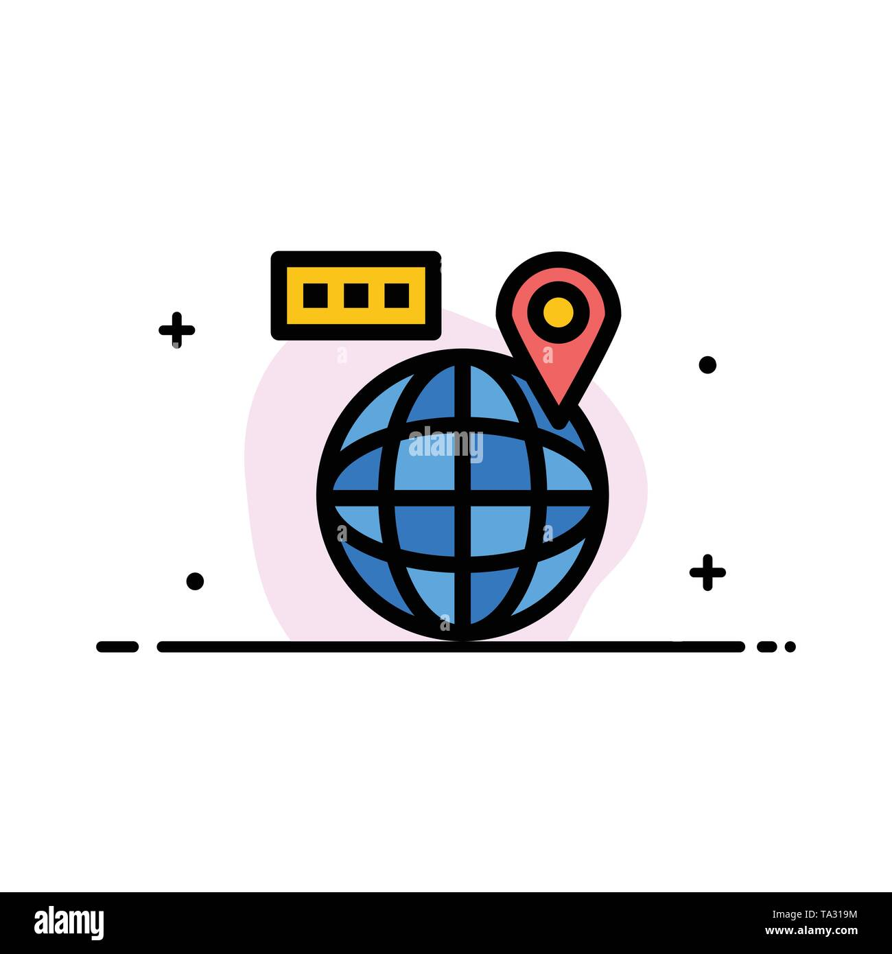 World, Map, Navigation, Location  Business Flat Line Filled Icon Vector Banner Template - Stock Image