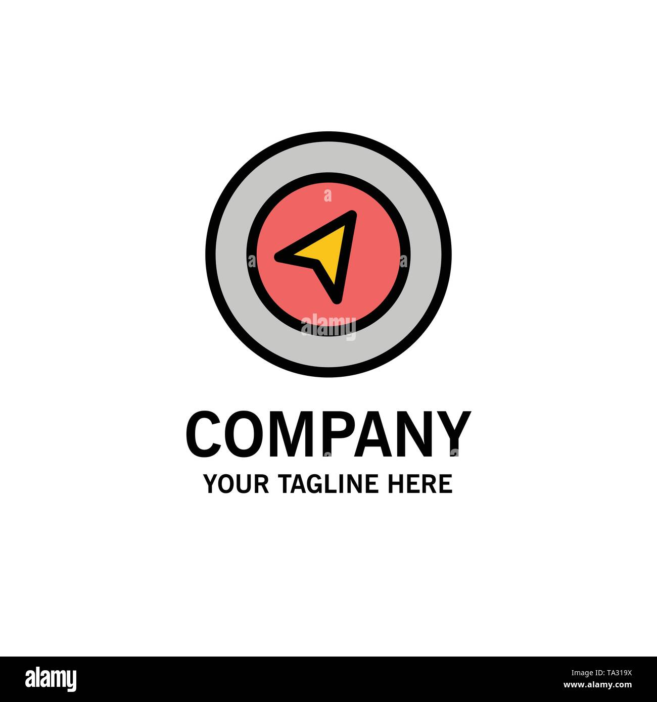 Map, Navigation, Location Business Logo Template. Flat Color - Stock Image