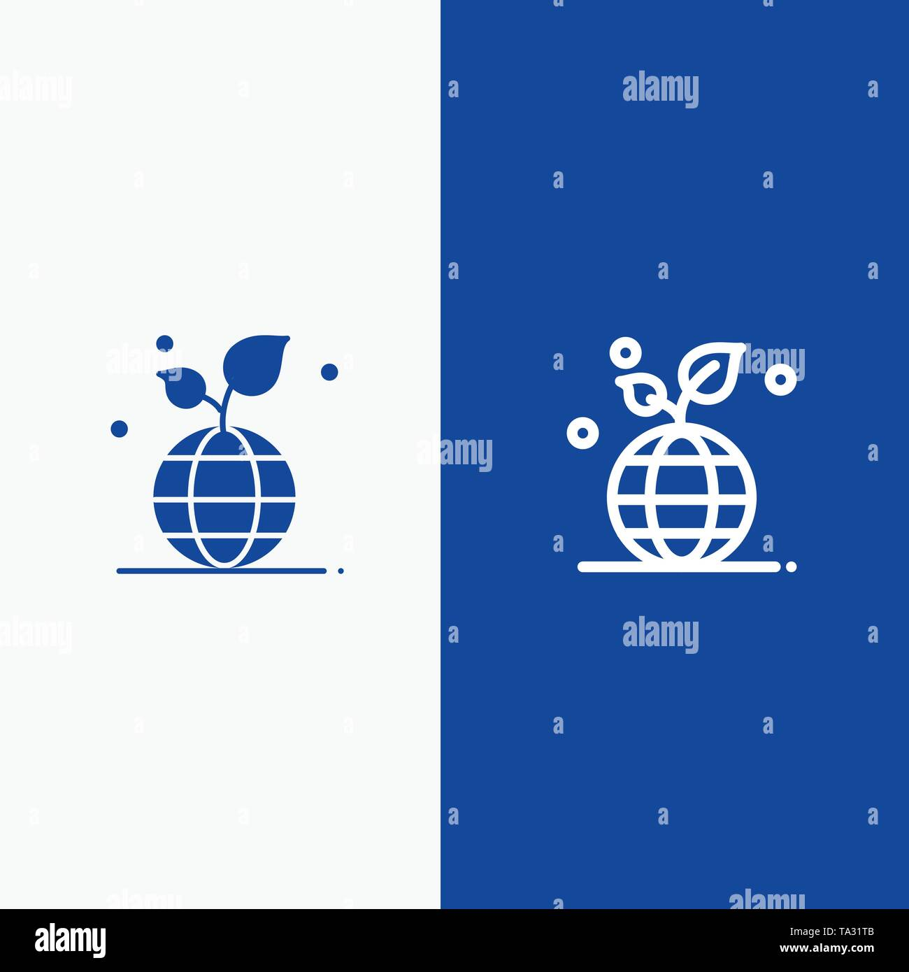 Growth, Eco, Friendly, Globe Line and Glyph Solid icon Blue banner Line and Glyph Solid icon Blue banner - Stock Image