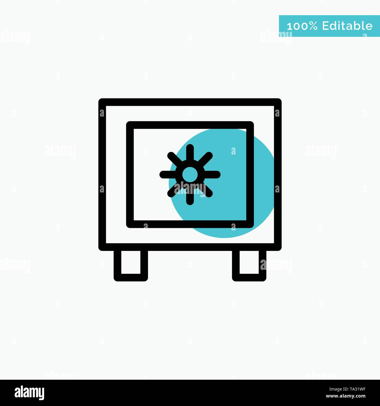Locker, Lock, Global, Logistic turquoise highlight circle point Vector icon - Stock Image
