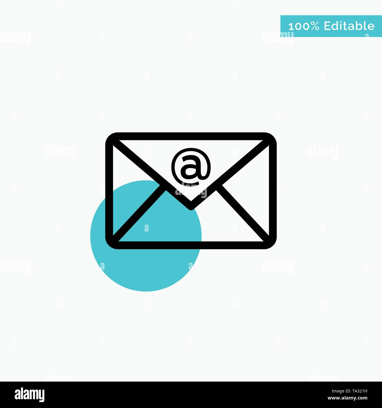 Email, Inbox, Mail turquoise highlight circle point Vector icon - Stock Image