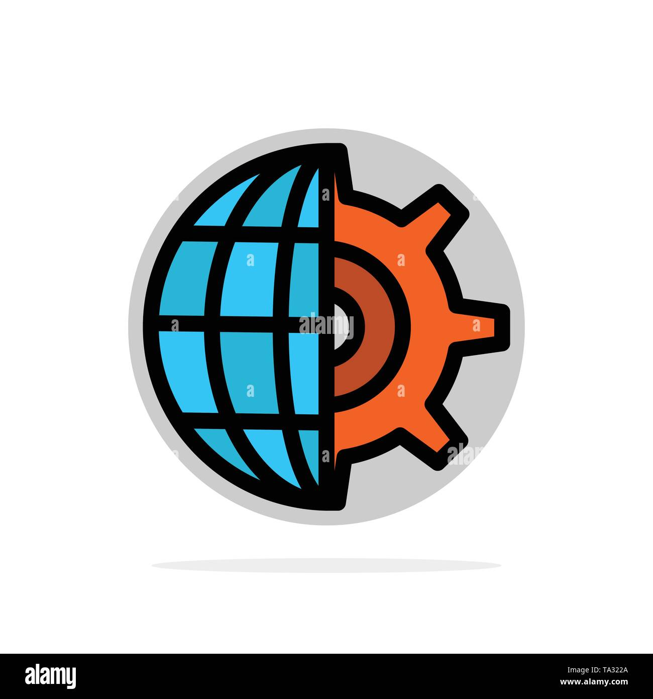 Gear, Globe, Setting, Business Abstract Circle Background Flat color Icon - Stock Image