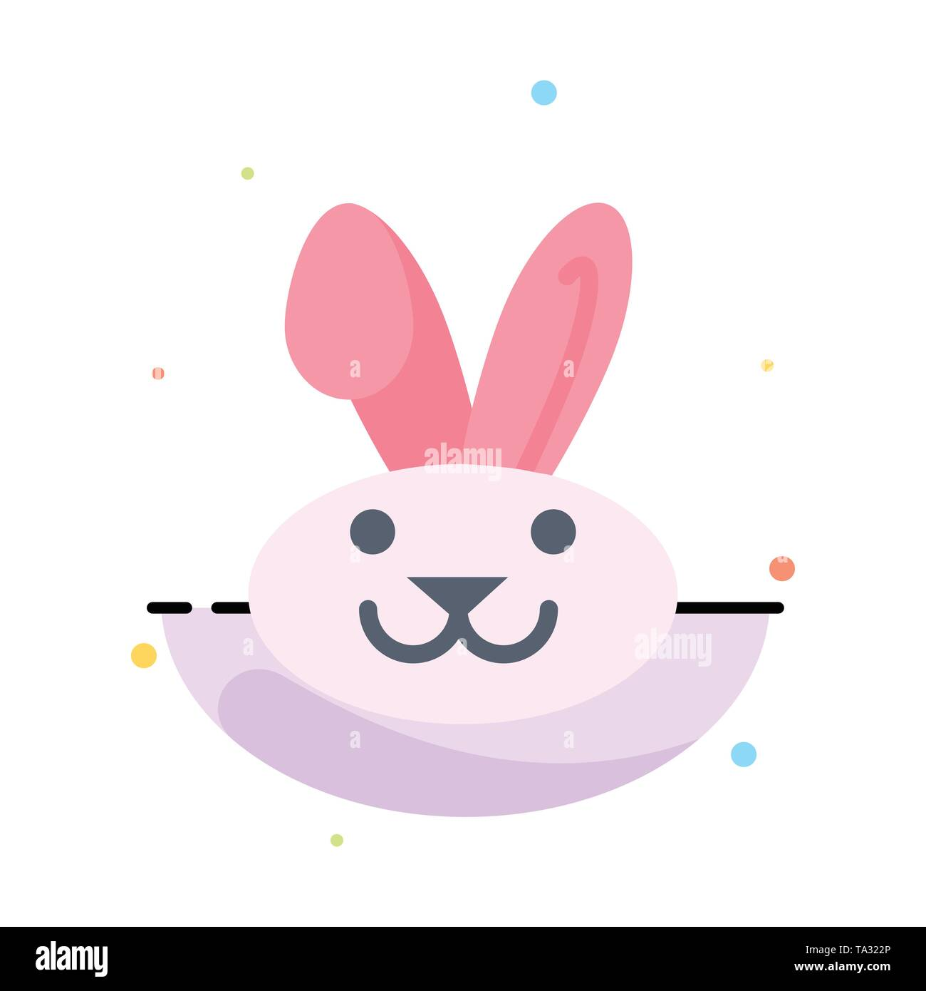 Bunny, Easter, Rabbit Abstract Flat Color Icon Template - Stock Image