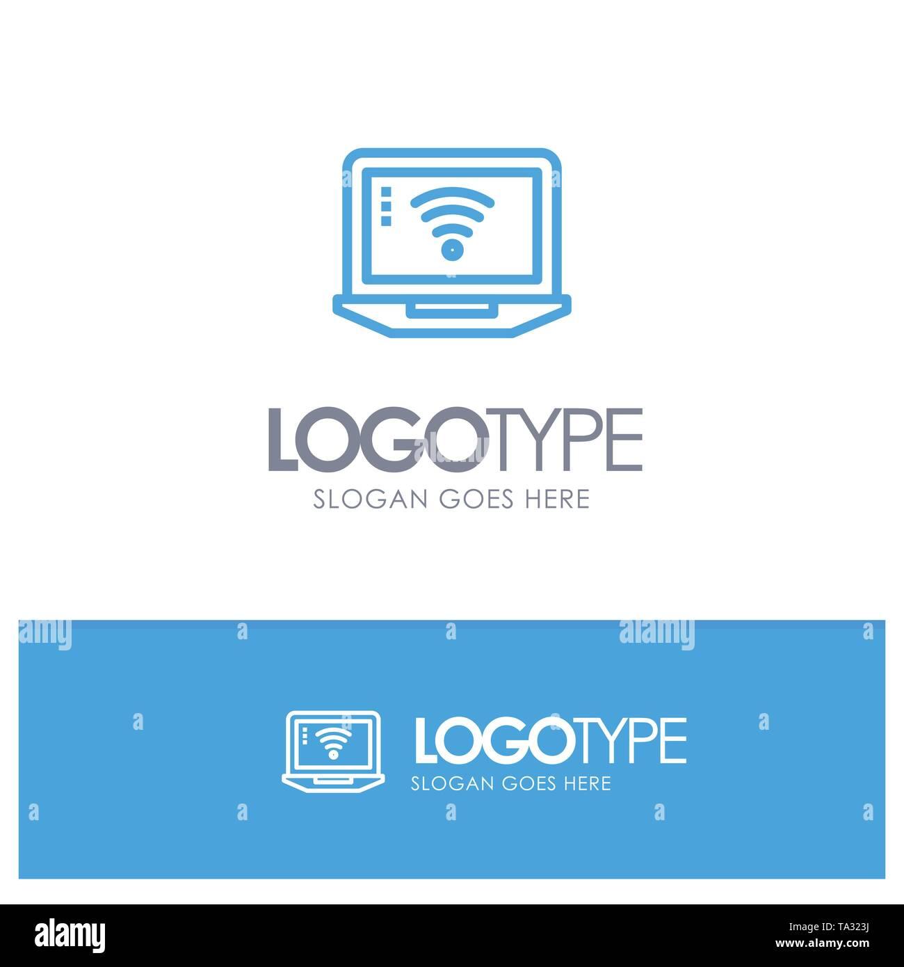 Laptop, Computer, Signal, Wifi Blue Logo Line Style - Stock Image