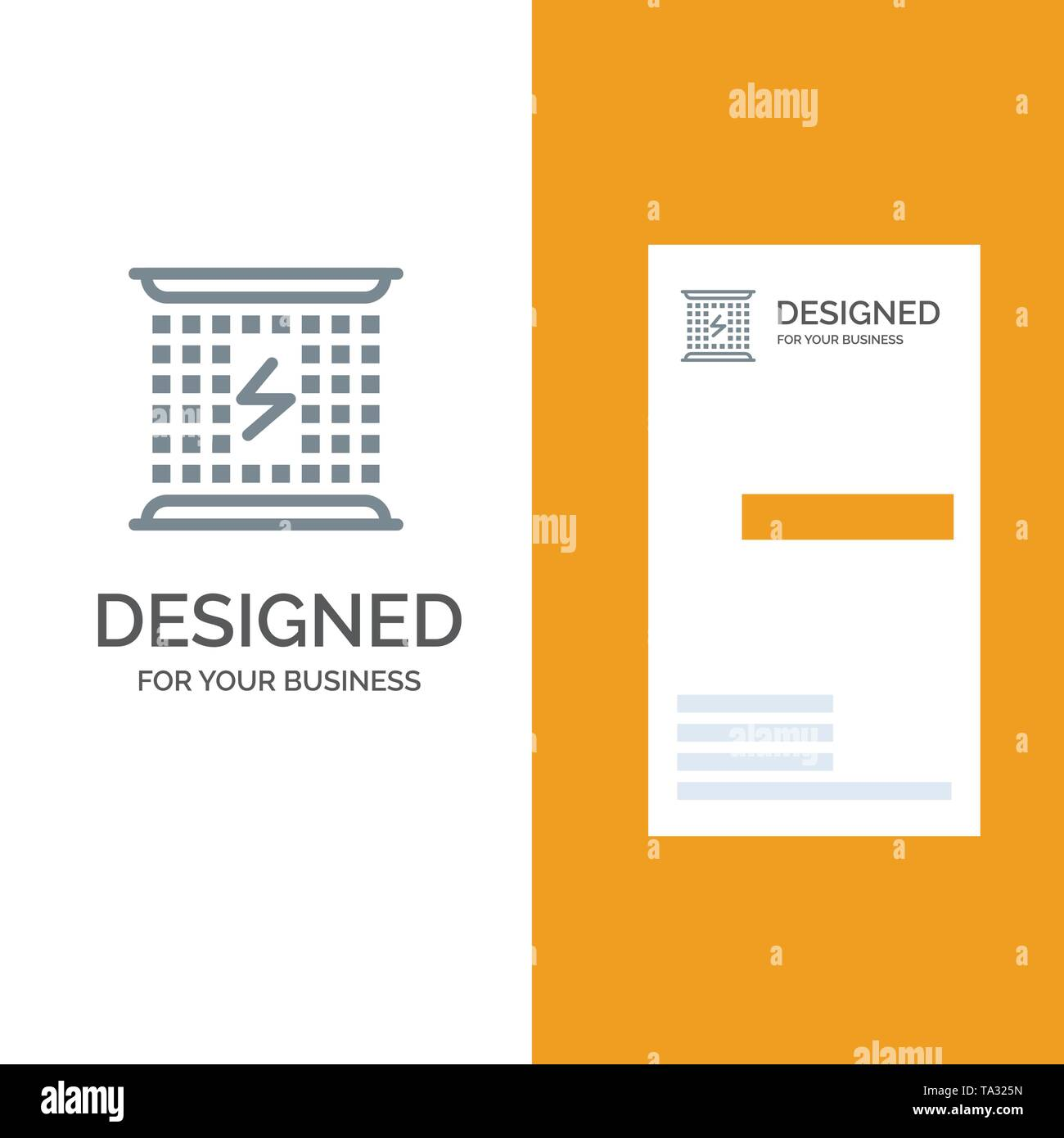 Charge, Charging, Electricity, Electromagnetic, Energy Grey Logo Design and Business Card Template - Stock Image