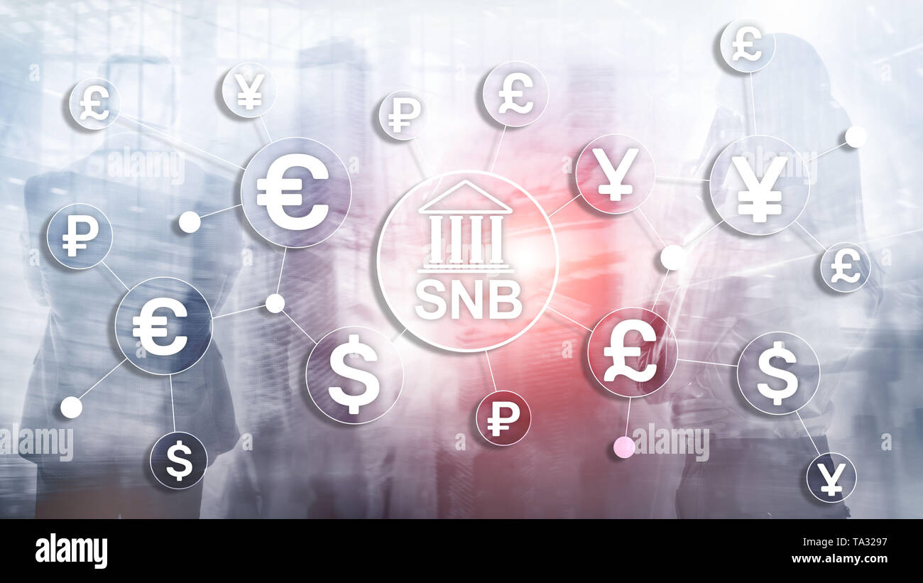 Different currencies on a virtual screen. SNB. Swiss National Bank - Stock Image