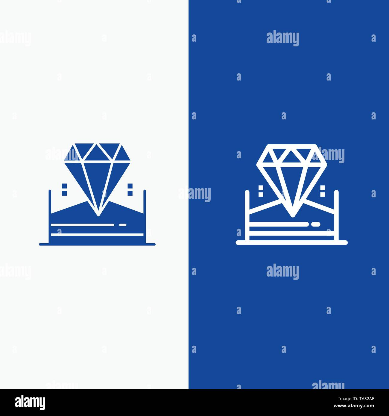 Brilliant, Diamond, Jewel, Hotel Line and Glyph Solid icon Blue banner - Stock Image