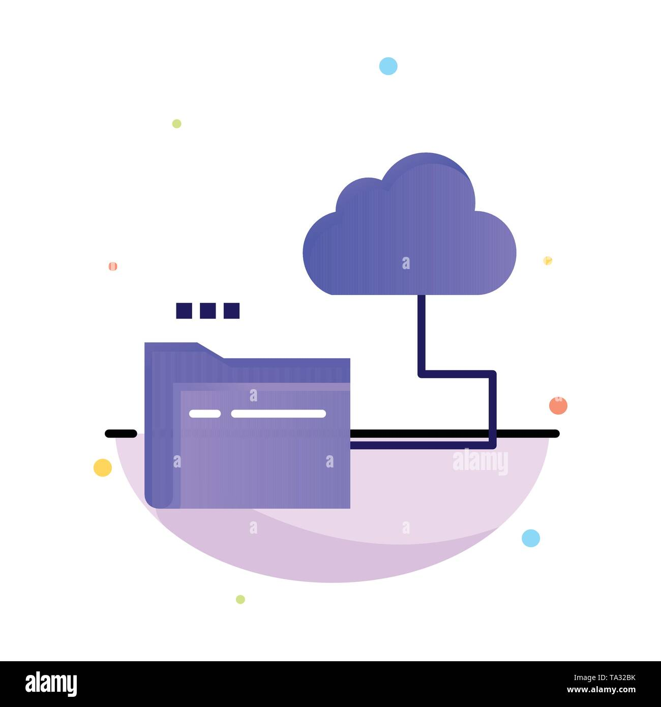Cloud, Folder, Storage, File Abstract Flat Color Icon Template - Stock Image