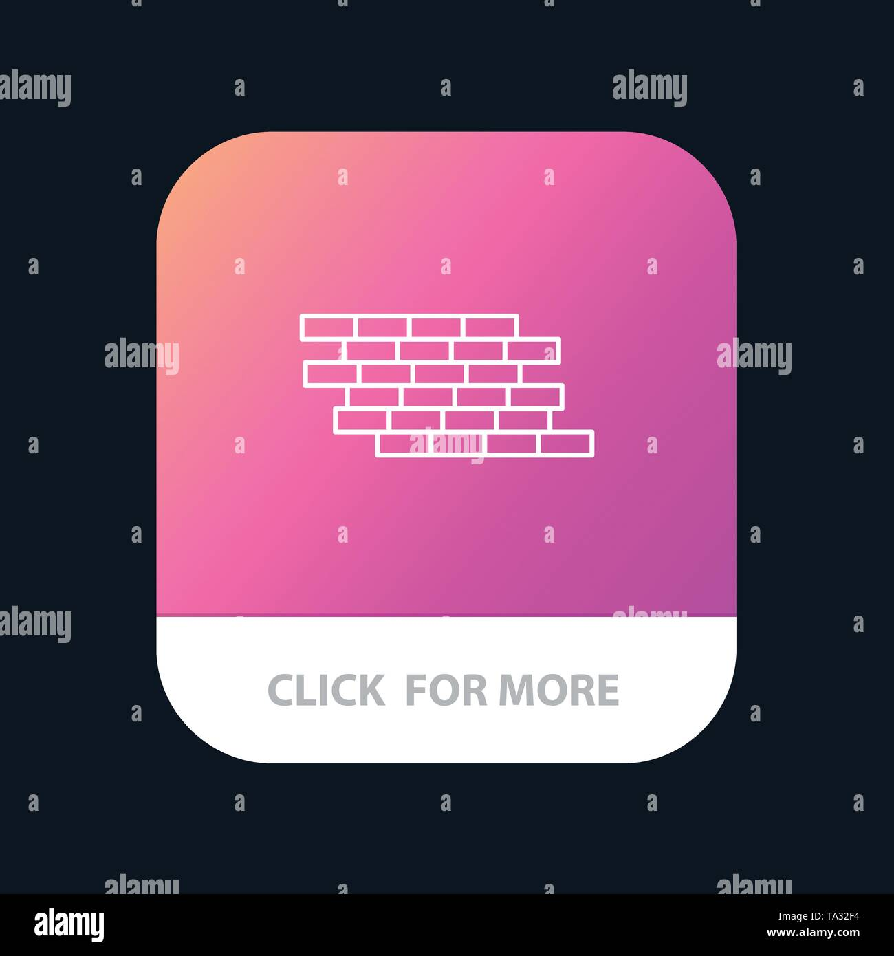 Firewall, Security, Wall, Brick, Bricks Mobile App Button. Android and IOS Line Version - Stock Image