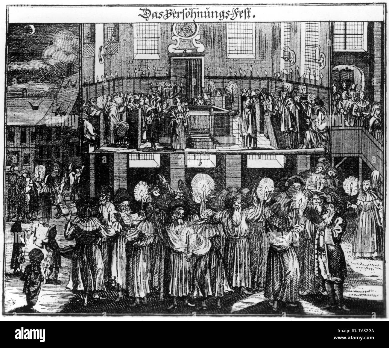 Das Versoehnungsfest (Day of Atonement) from the collection Juedisches Ceremoniell (Jewish Ceremonies) by Paul Christian Kirchner after a copper engraving by Johann Georg Puschner. - Stock Image