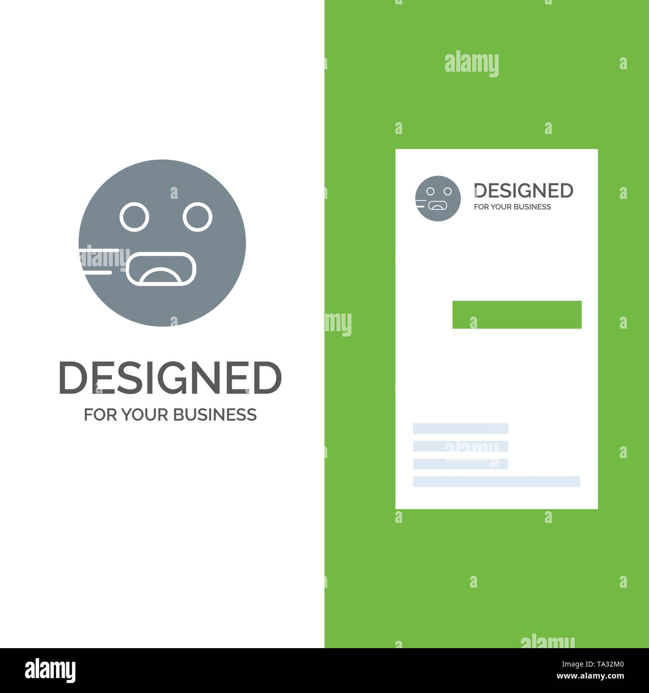Emojis, Emoticon, Hungry, School Grey Logo Design and Business Card Template - Stock Image