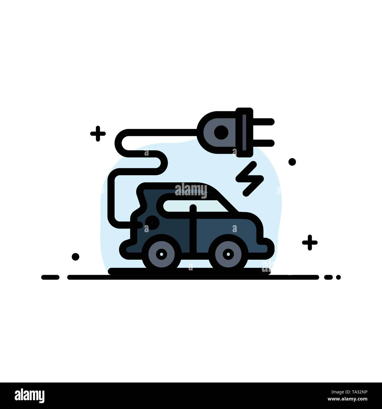 Automotive Technology, Electric Car, Electric Vehicle  Business Flat Line Filled Icon Vector Banner Template - Stock Image