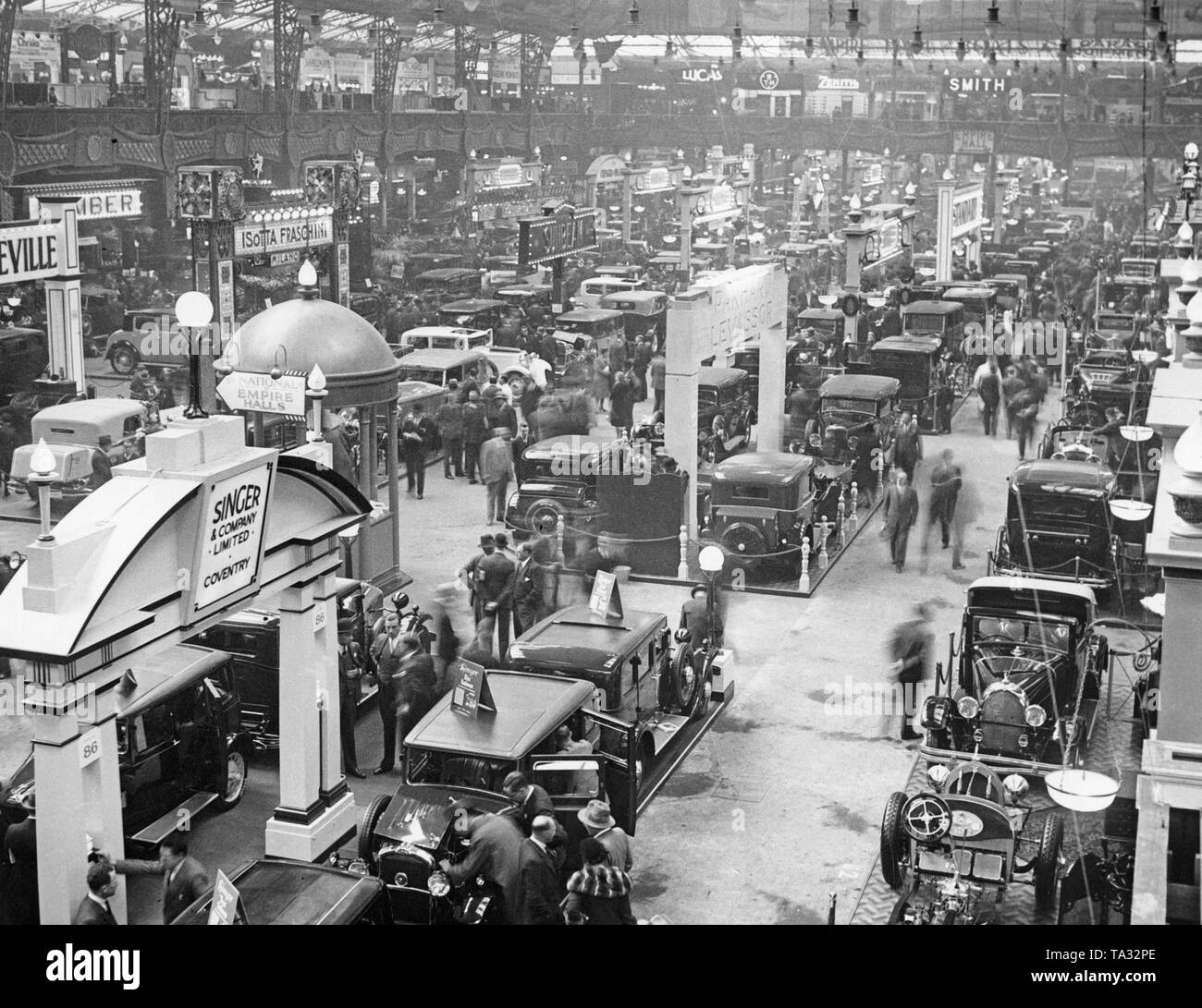 Overview of the exhibition hall of the British International Motor Show. - Stock Image