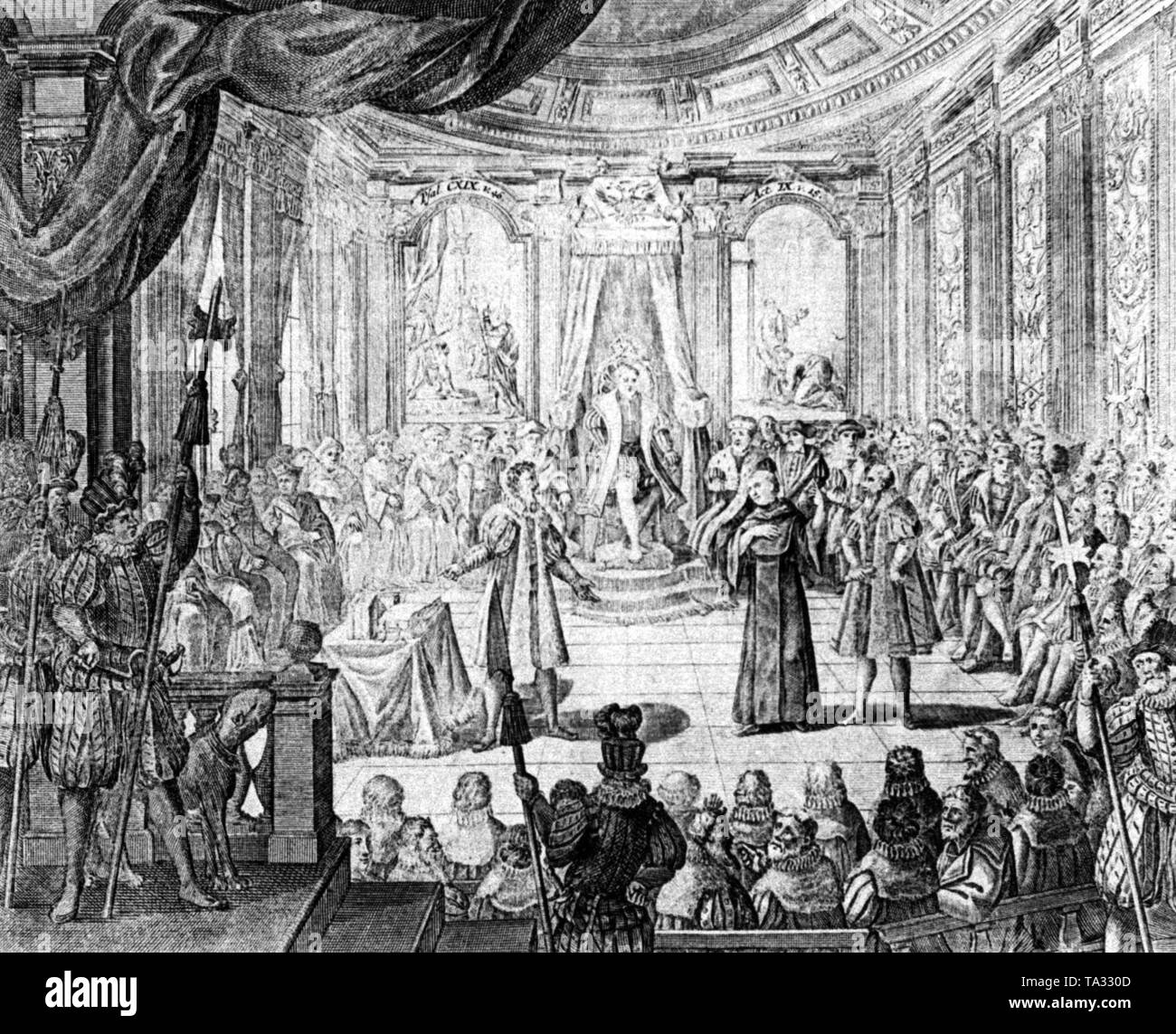 This engraving by Karl Remshart appeared in 1721 for a peace festival, in memory of the Peace of Westphalia of 1648. In 1730 Johann Michael Roth published an anthology of the peace paintings that includes this engraving as well. The engraving shows Luther at the Diet of Worms during a defense speech of his doctrine before Emperor Charles V, who sits in the middle under the canopy, spiritual dignitaries (l.) and secular princes (r.). - Stock Image