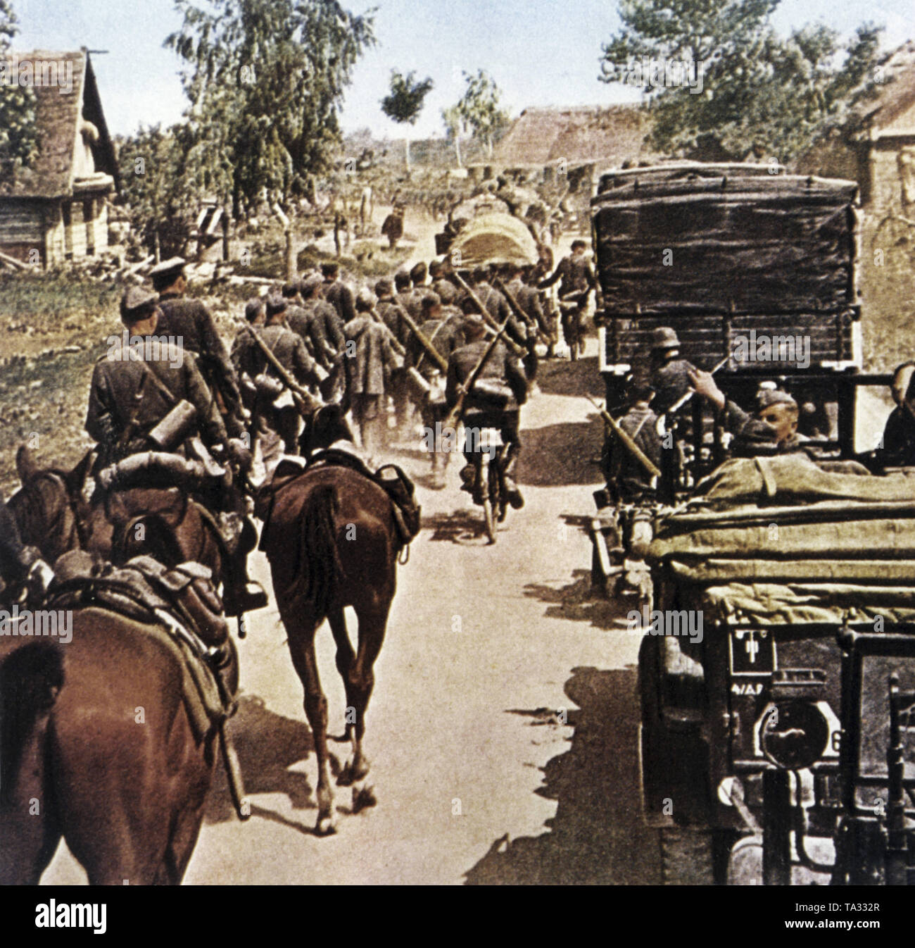 A German column consisting of trucks and horses on the advance of the eastern front. Stock Photo