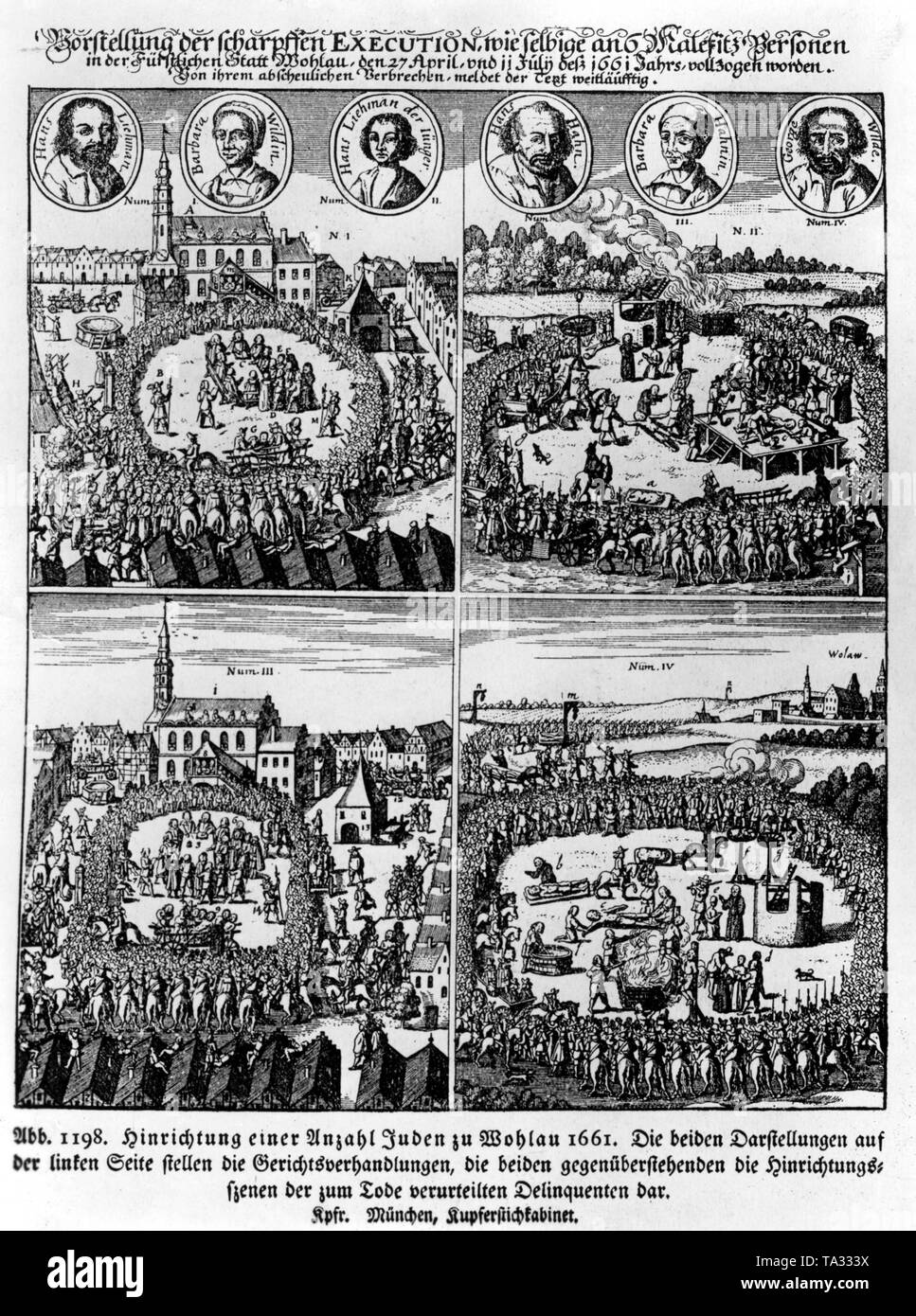 Jews are being executed in Wohlau, today's Wolow in Poland. On the left side is a court hearing, on the right, the execution scene. This copper engraving is in the Munich Kupferstichkabinett. Stock Photo