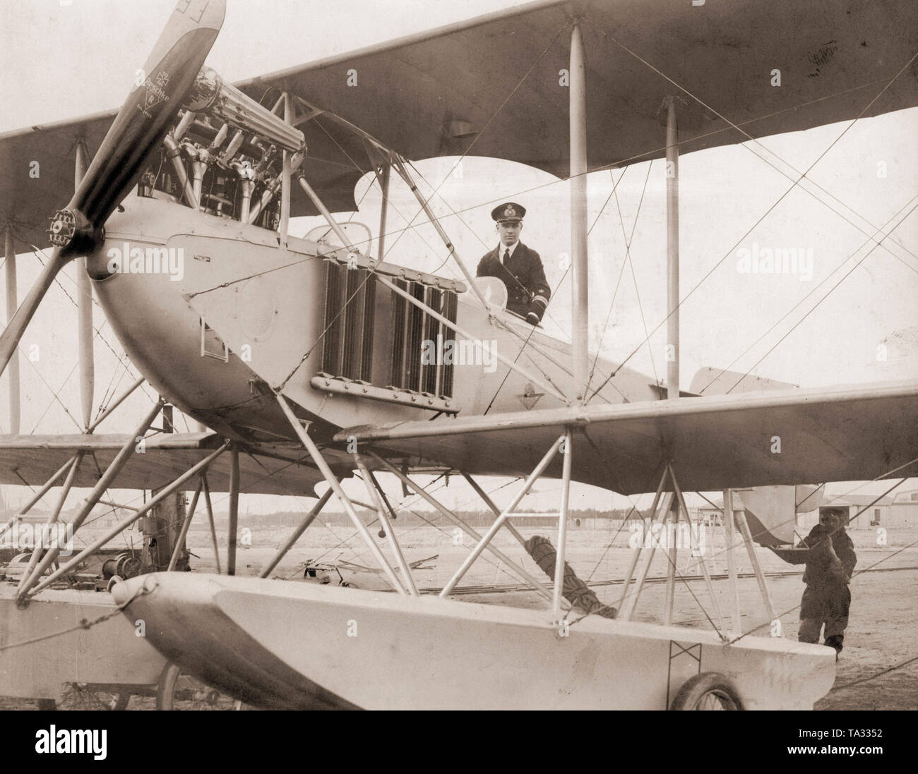 The 'Flieger von Tsingtau' (Aviator from Tsingtau) - Guenther Plueschow in his double decker. - Stock Image