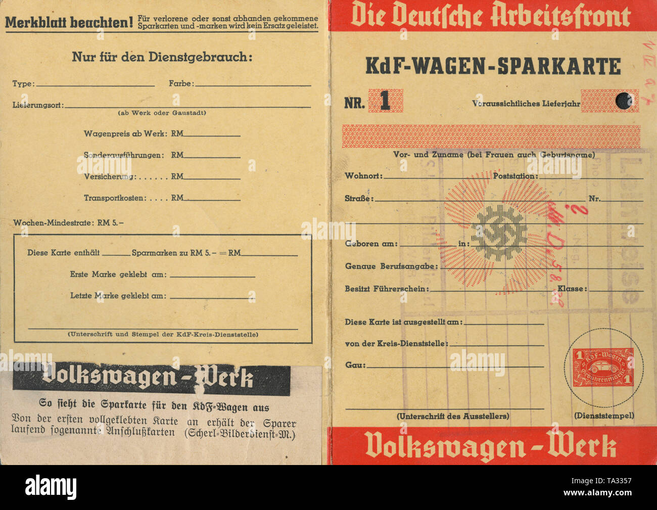 Savings booklet for a KdF-Wagen, left below the caption from an illustrated magazine of Scherl-Verlag. - Stock Image