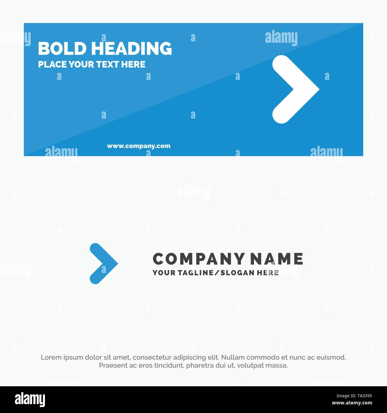 Arrow, Right, Forward, Direction SOlid Icon Website Banner and Business Logo Template - Stock Image