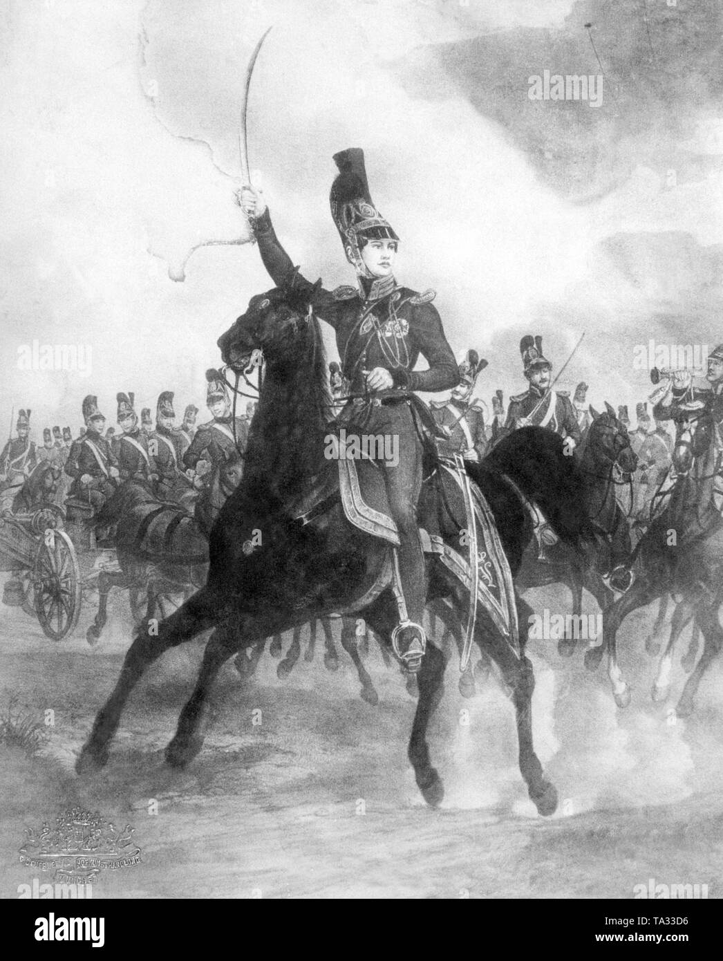 A contemporary engraving depicting the young prince Luitpold, later Prince Regent, as a young cavalry officer of the Bavarian army around 1840. - Stock Image