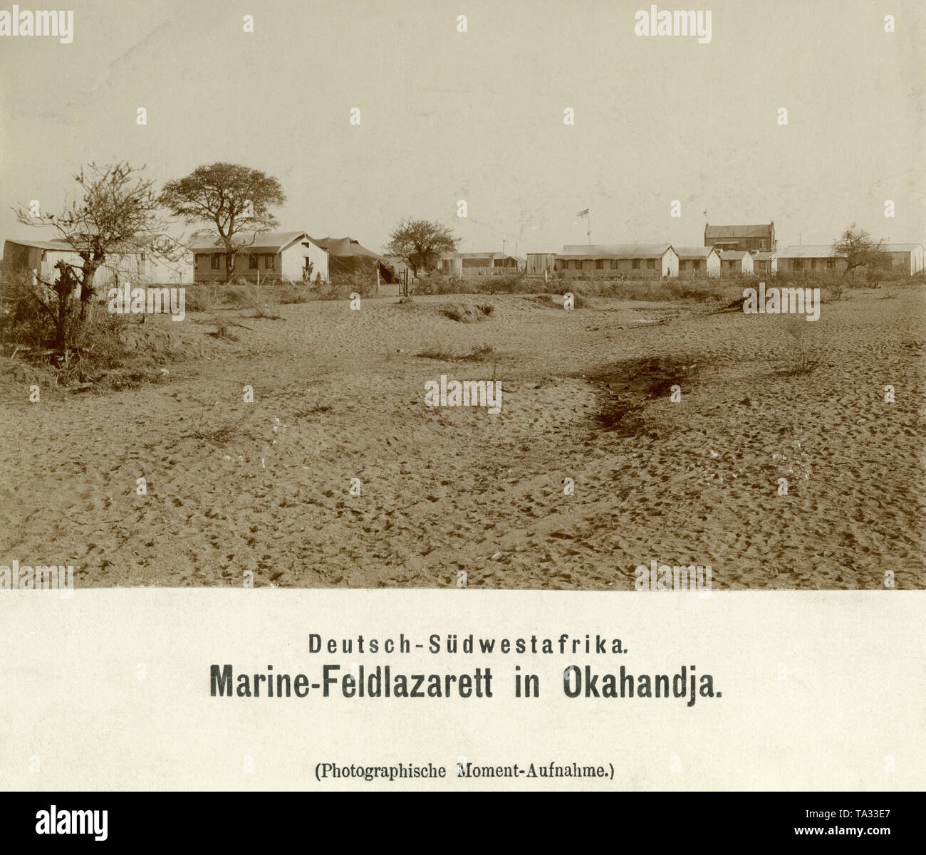 Habitations of the Marine Field Hospital in Okahandja, German South West Africa (undated photo). - Stock Image