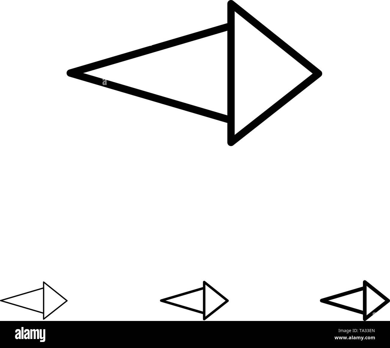 Arrow, Right, Next Bold and thin black line icon set - Stock Image