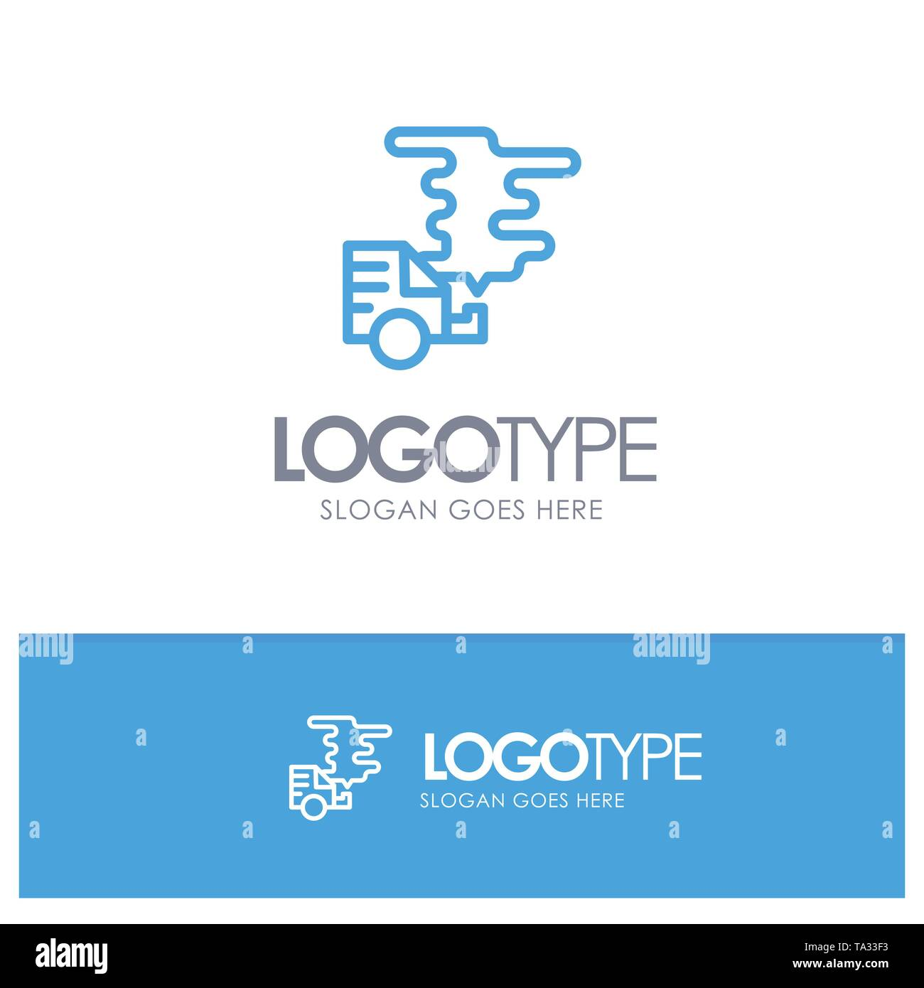 Automobile, Car, Emission, Gas, Pollution Blue outLine Logo with place for tagline - Stock Image