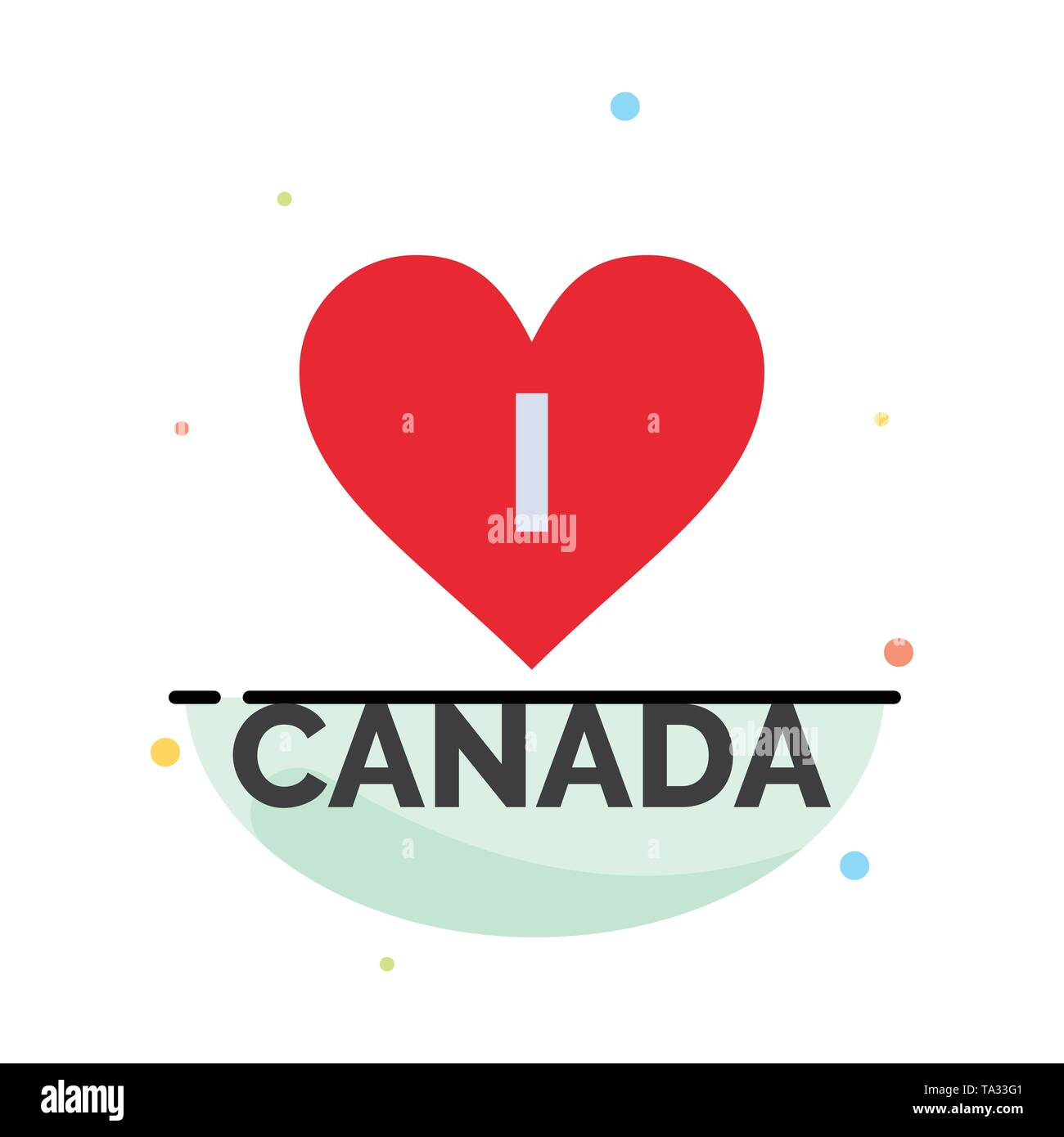 Love, Heart, Canada Abstract Flat Color Icon Template - Stock Image