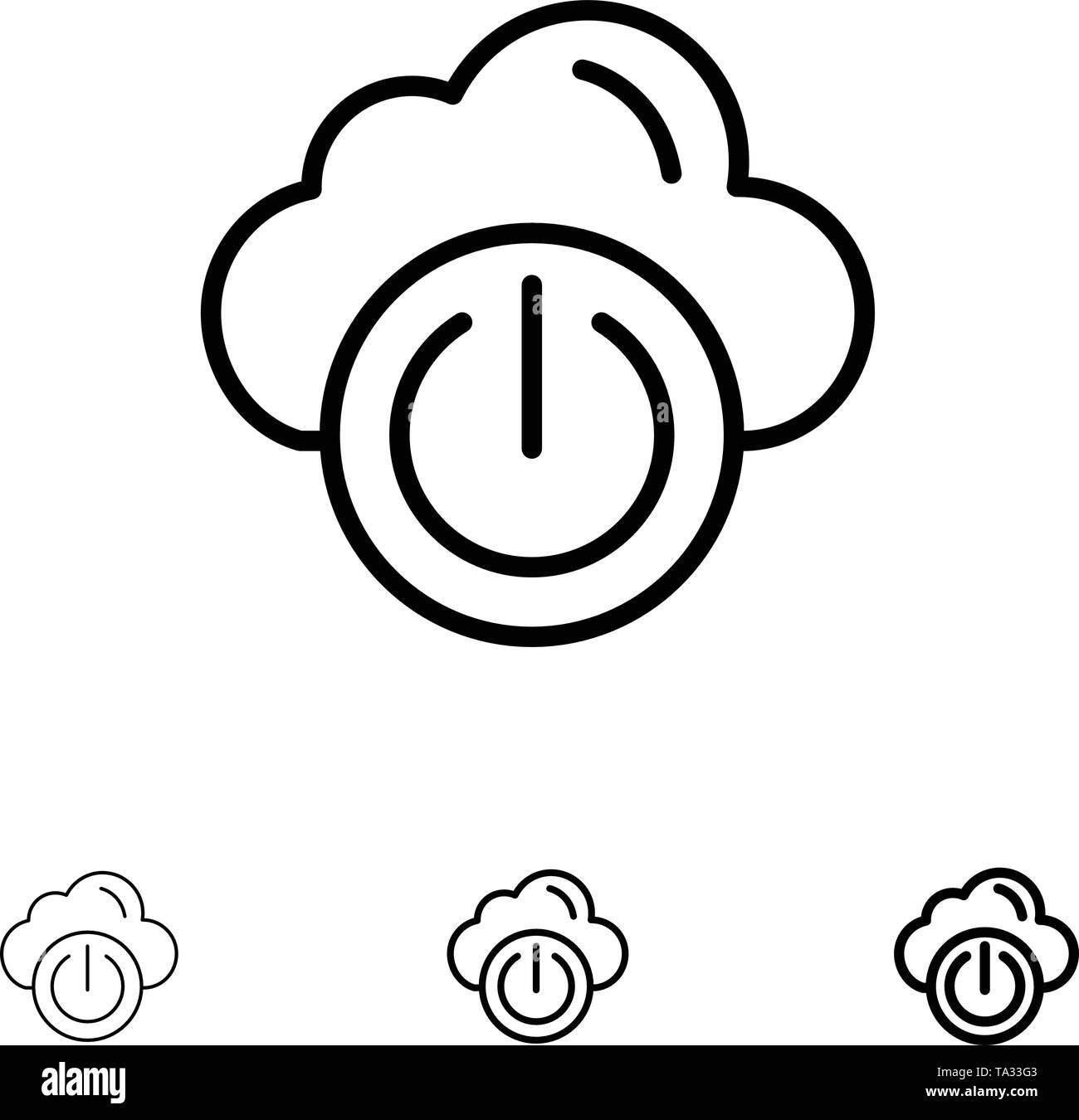 Cloud, Power, Network, Off Bold and thin black line icon set - Stock Image