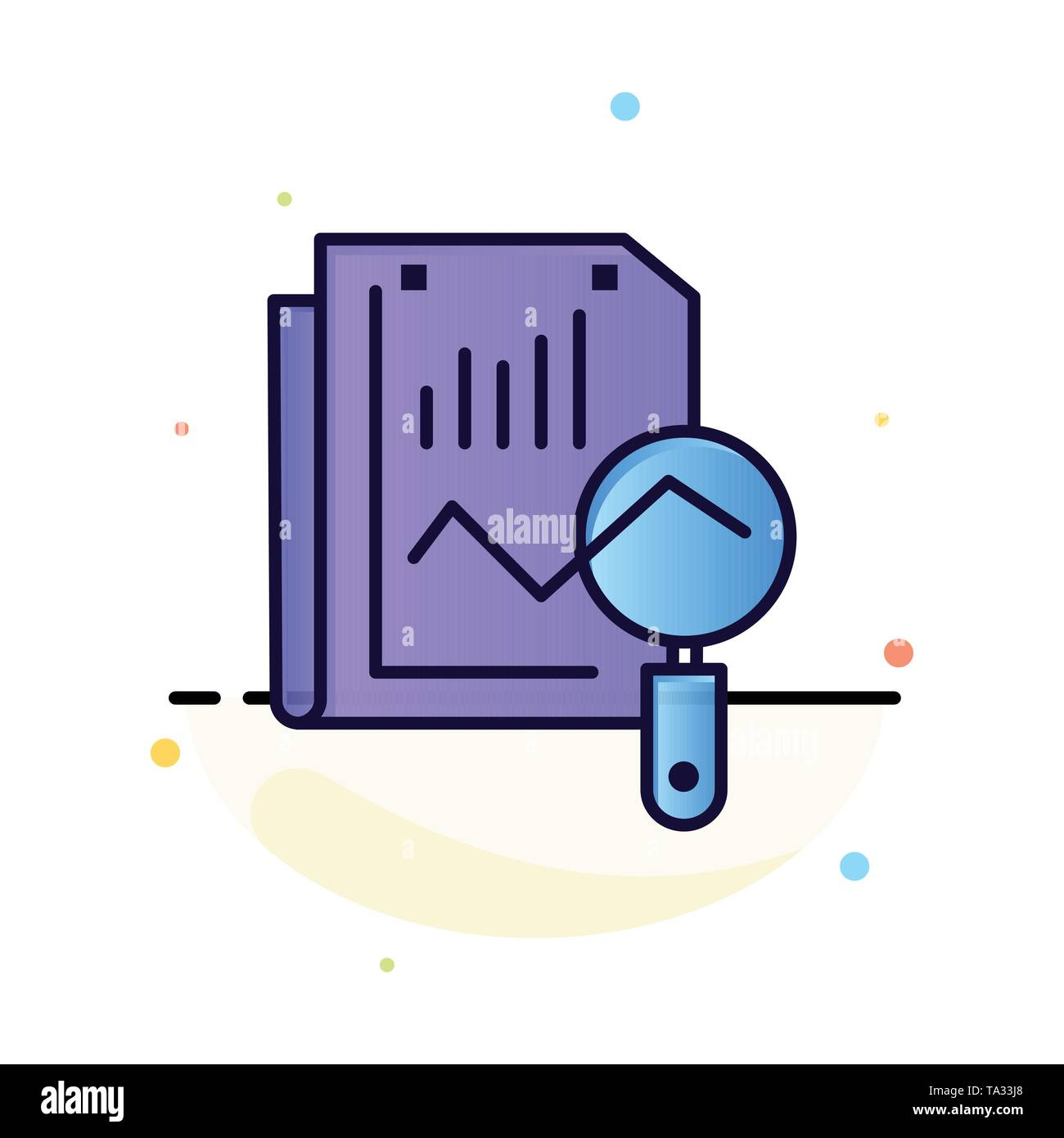 File, Static, Search, Computing Abstract Flat Color Icon Template - Stock Image