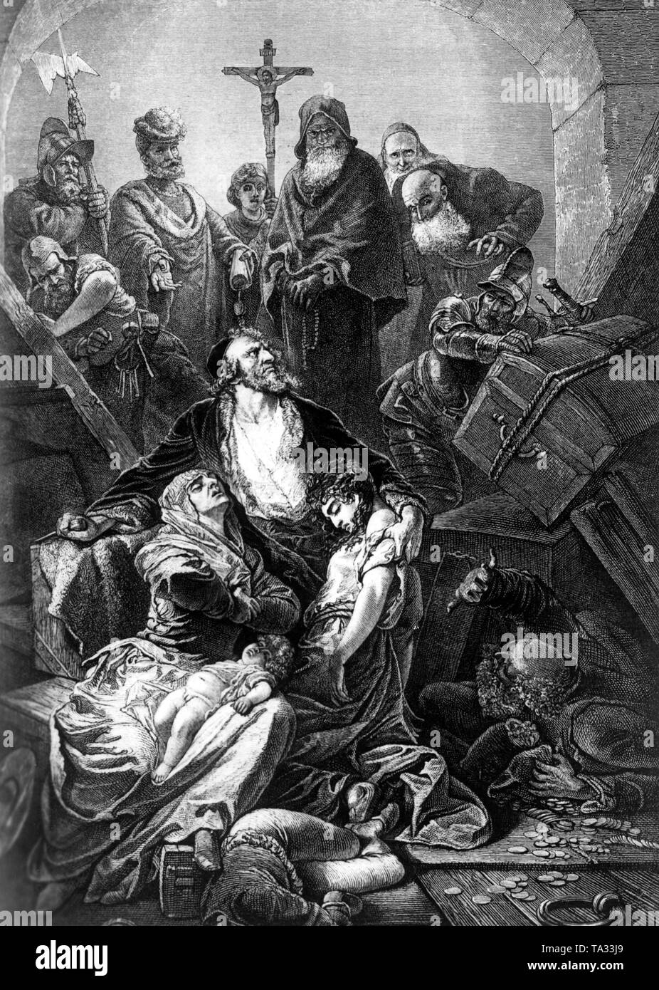 Jews must explain themselves before the Grand Inquisitor Tomas de Torquemada. - Stock Image