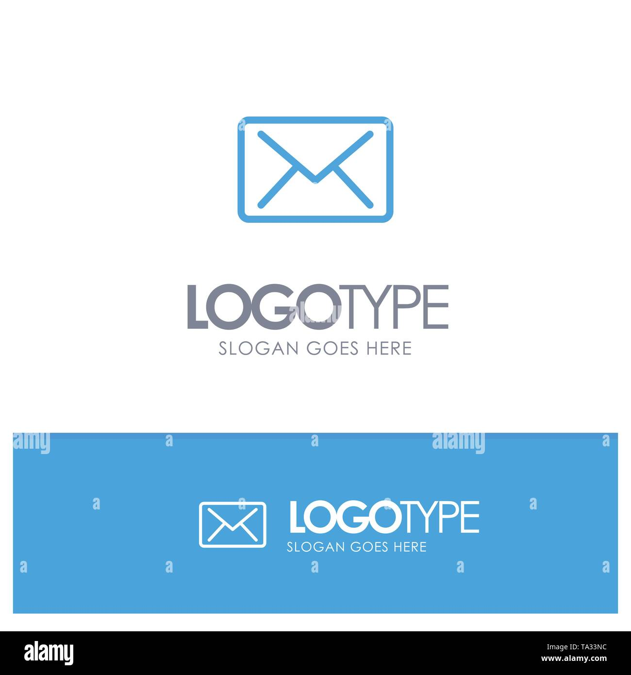 Email, Mail, Message Blue outLine Logo with place for tagline - Stock Image