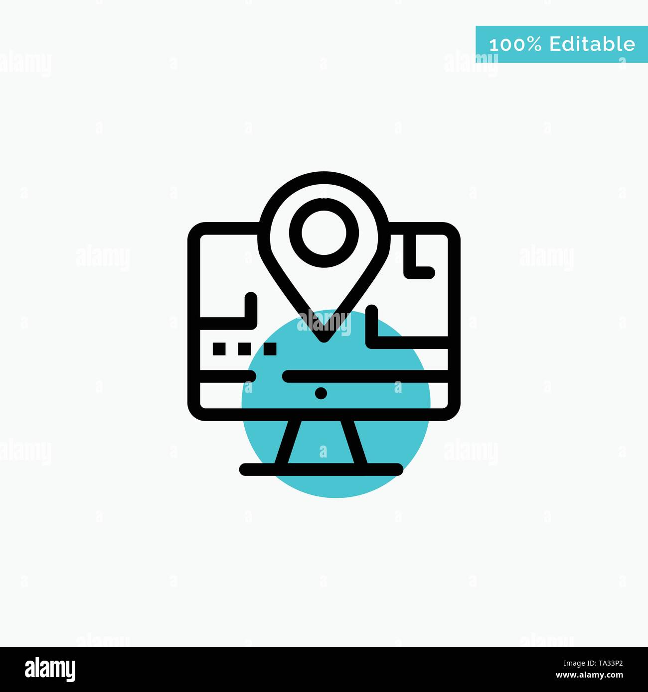 Computer, Map, Location, Education turquoise highlight circle point Vector icon - Stock Image