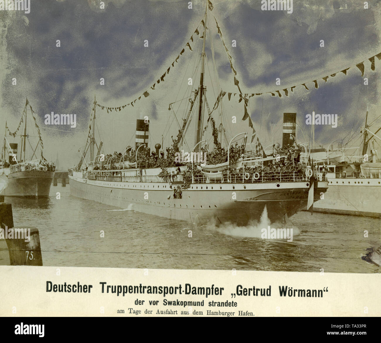 Day of the departure of the troop transport steamer 'Gertrud Woermann', which brings troops to German Southwest because of the Herero uprising. On her arrival in November 1904, the steamer stranded on the coast off Swakopmund, German South West Africa. - Stock Image