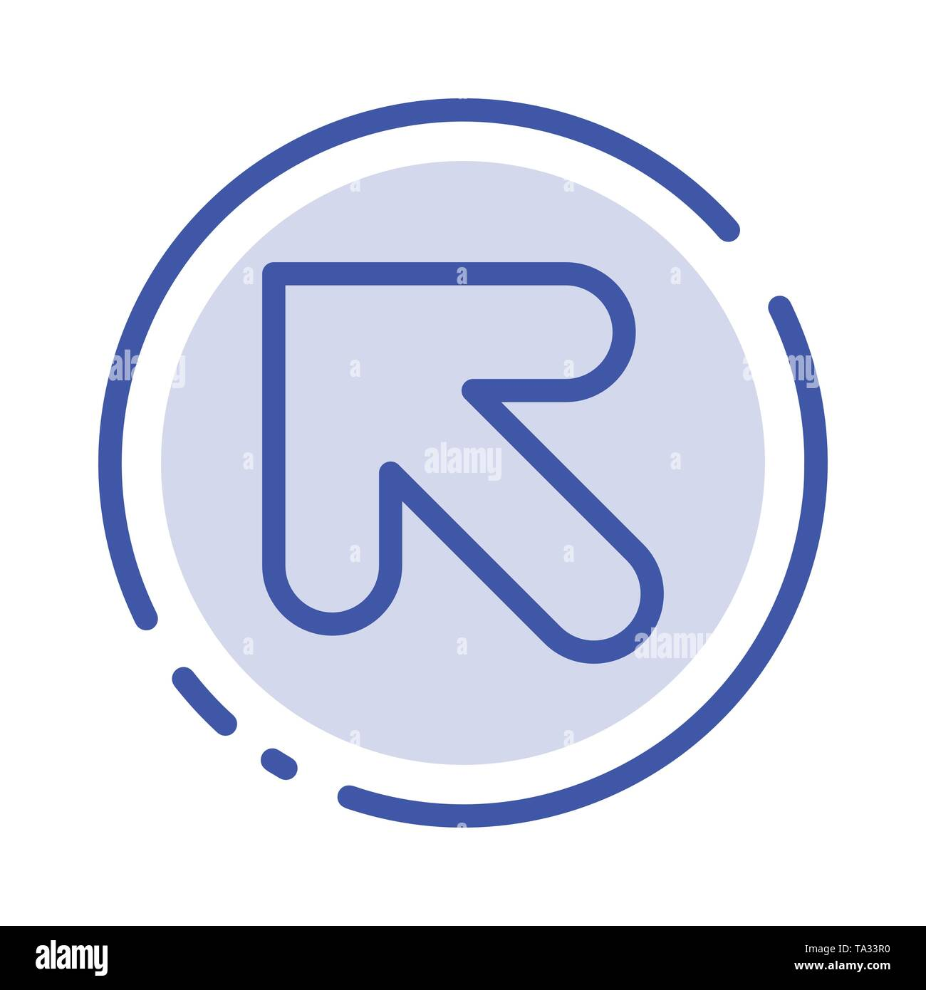 Arrow, Up, Left Blue Dotted Line Line Icon - Stock Image
