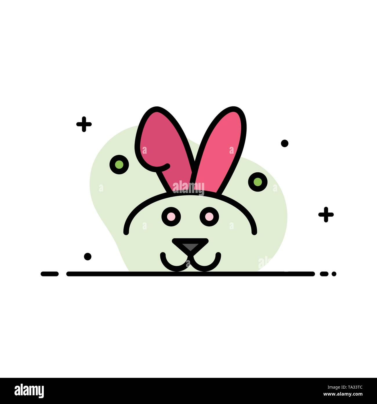 Bunny, Easter, Rabbit  Business Flat Line Filled Icon Vector Banner Template - Stock Image