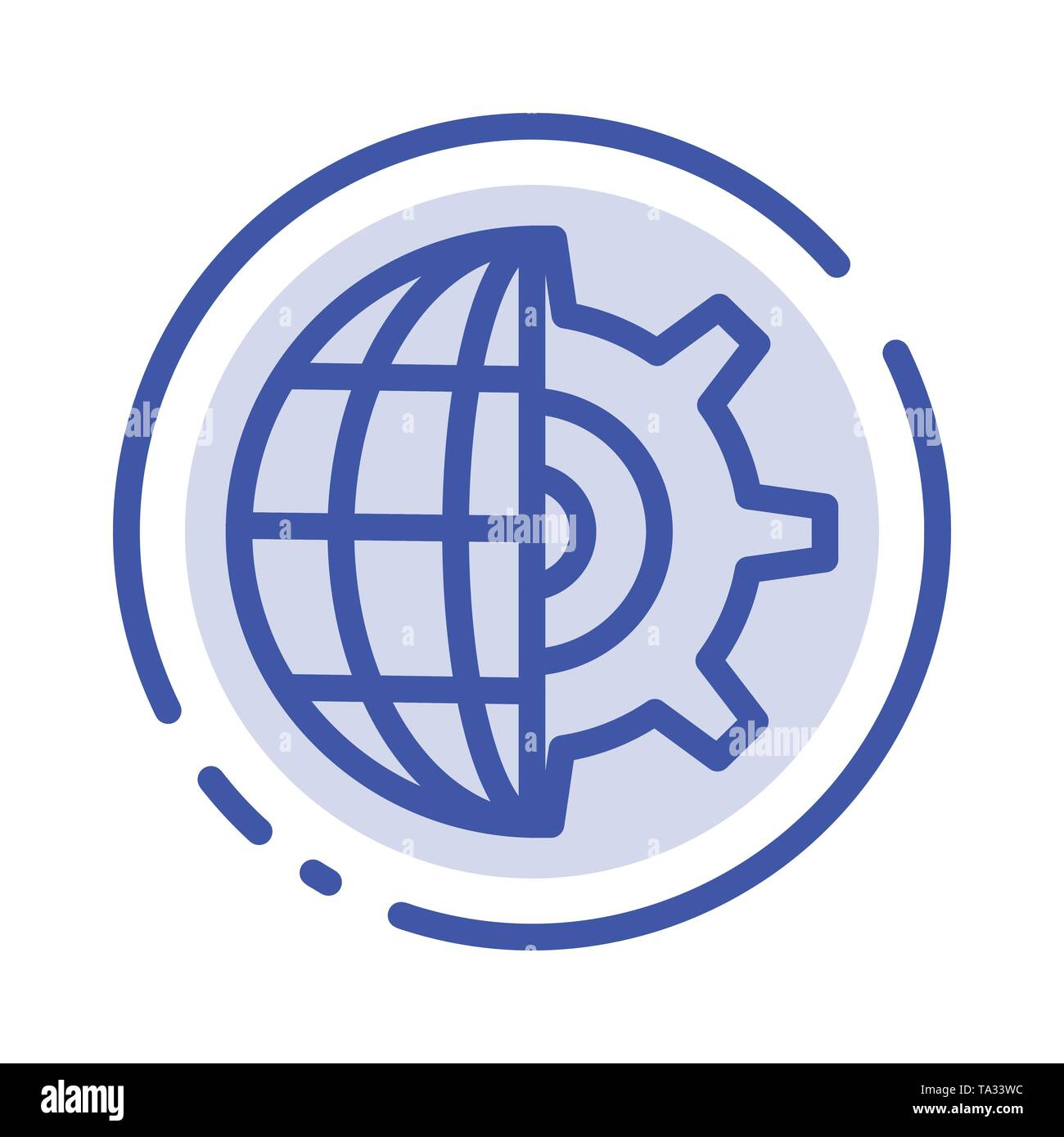 Gear, Globe, Setting, Business Blue Dotted Line Line Icon - Stock Image
