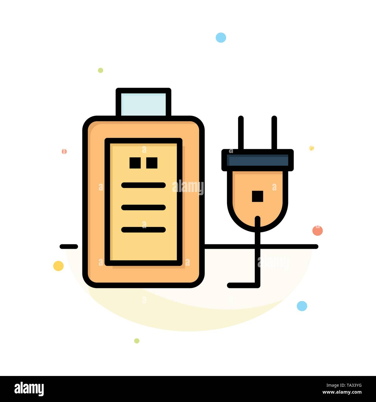 Battery, Charge, Plug, Education Abstract Flat Color Icon Template - Stock Image