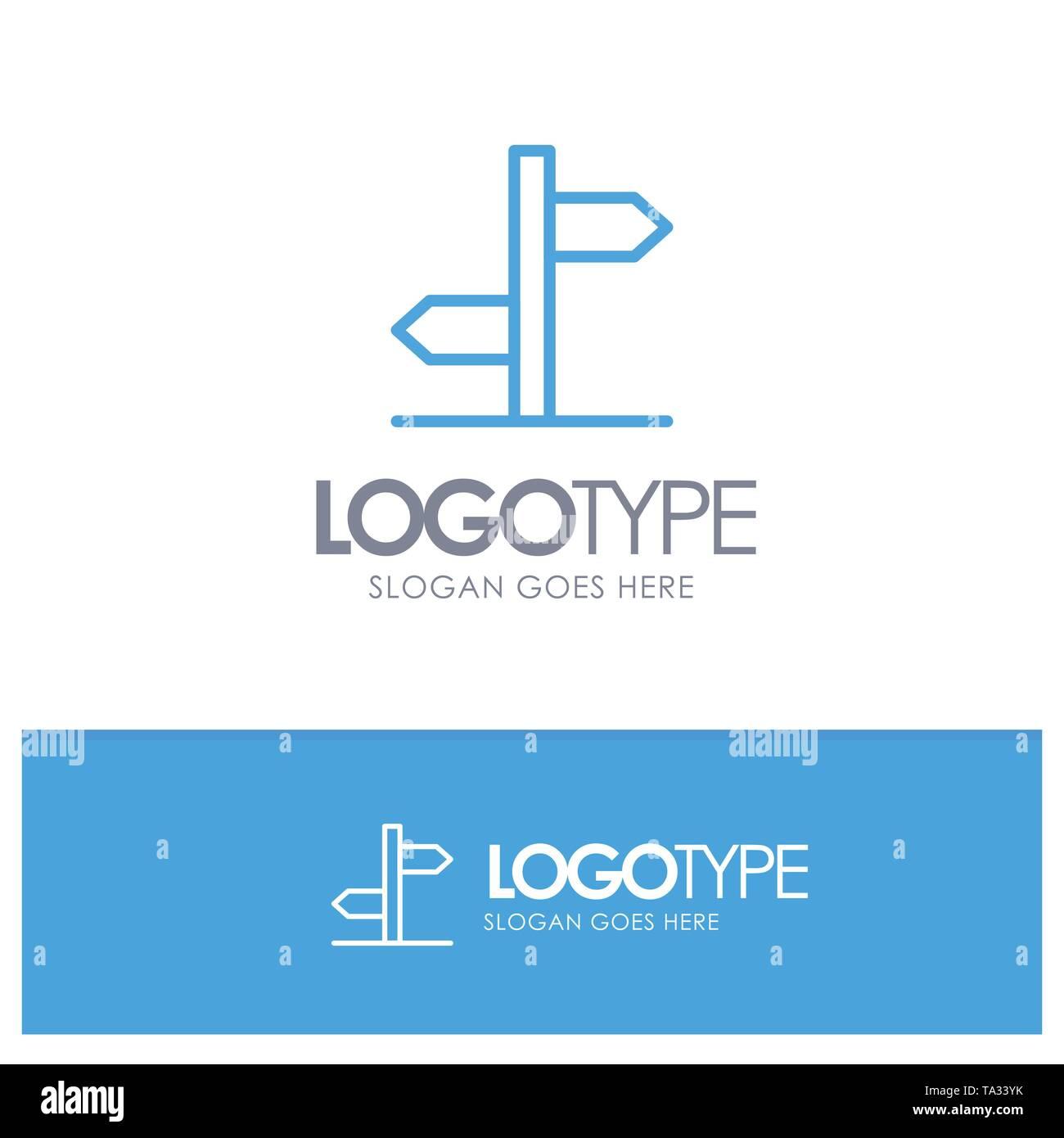 Direction, Logistic, Board, Sign Blue Outline Logo Place for Tagline - Stock Image